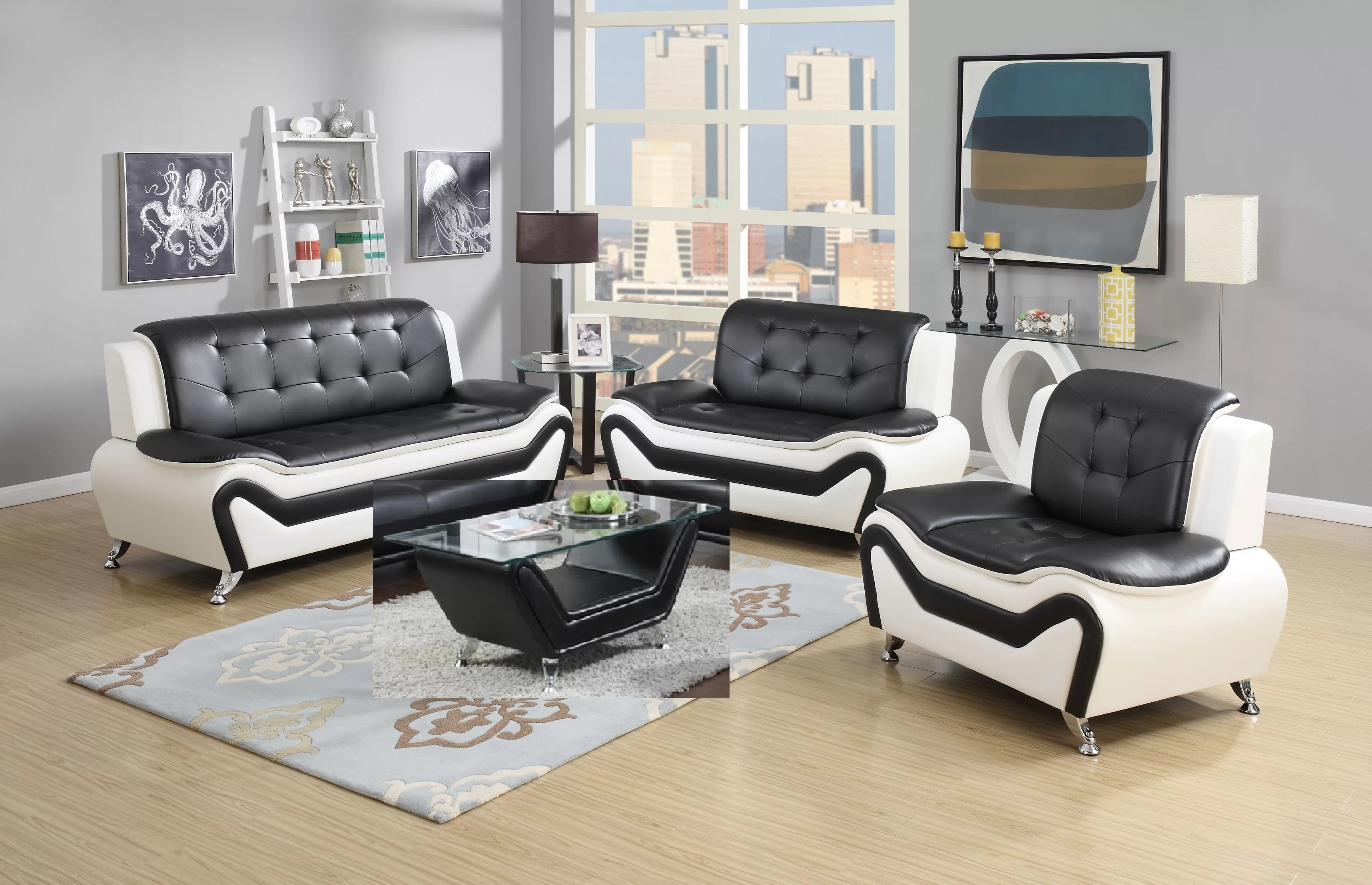 Unusual Living Room Furniture Aurelia 4 Piece Leather Standard Living Room Set