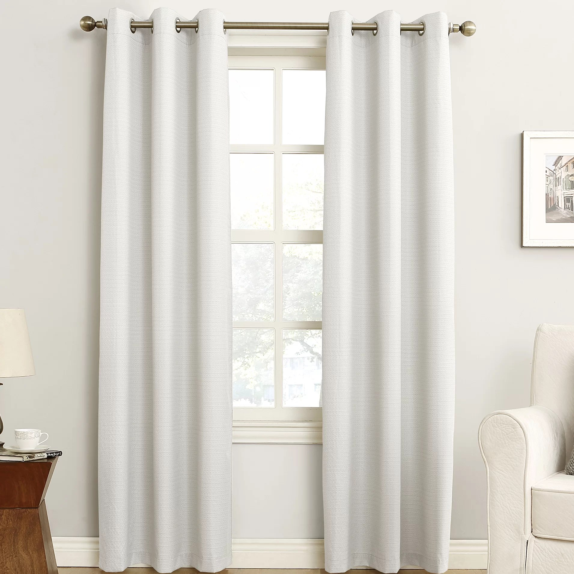 Curtain Insulation Fabric Cooper Textured Solid Light Filtering Thermal Insulated Grommet Single Curtain Panel