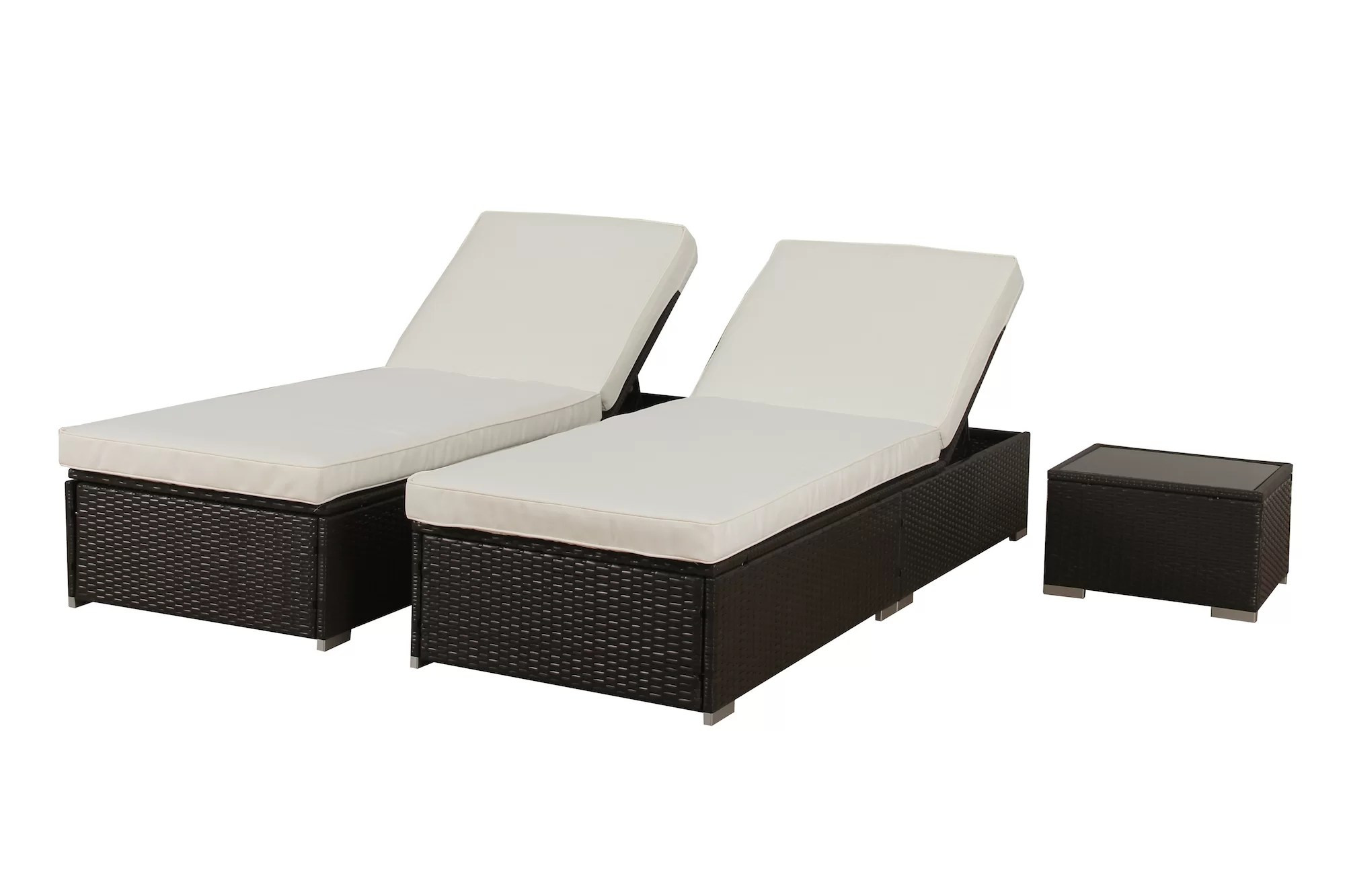 Lounge Set Rattan Degnan Outdoor Rattan Reclining Chaise Lounge With Cushion And Table
