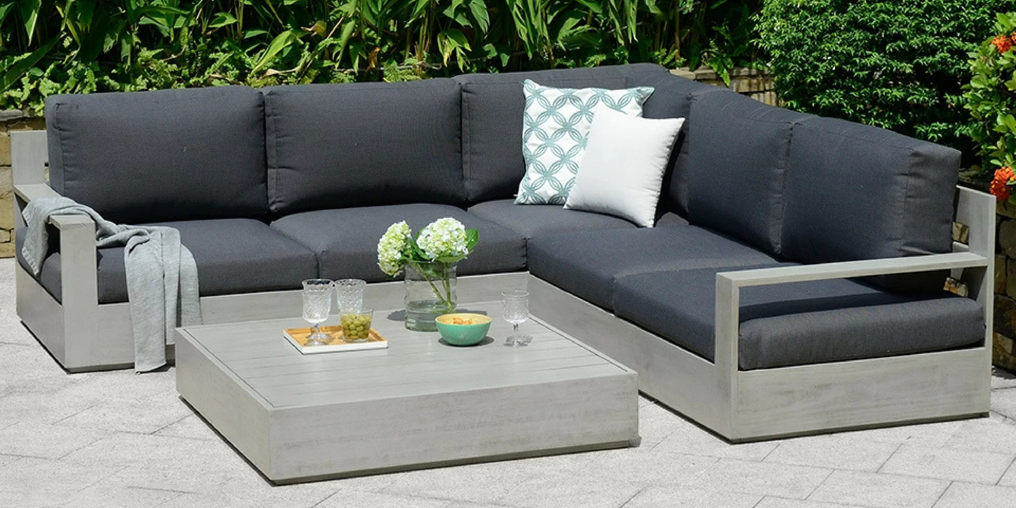 Owen 5 Piece Rattan Sofa Set With Cushions Deleon 5 Seater Corner Sofa Set