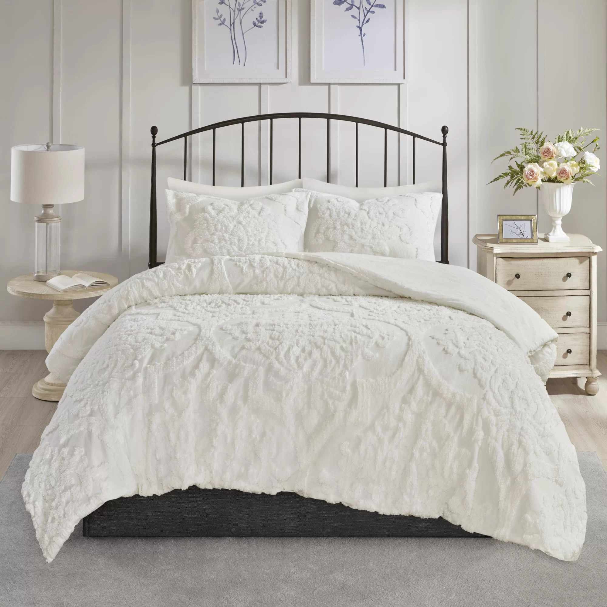 Duvet And Comforter Sets Kennesaw Chenille Damask Comforter Set