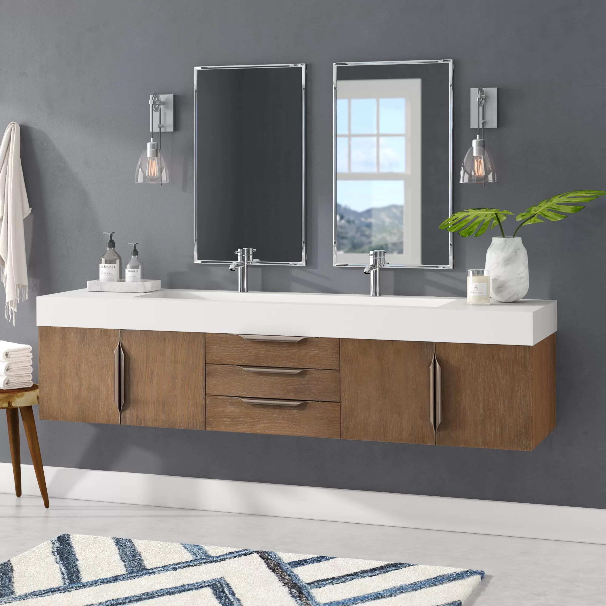 Wall Mount Double Vanity Hukill 72
