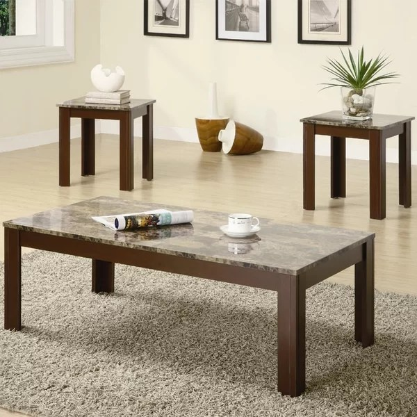 Charlton Home Colmer 3 Piece Coffee Table Set in Brown \ Reviews - 3 piece living room table set