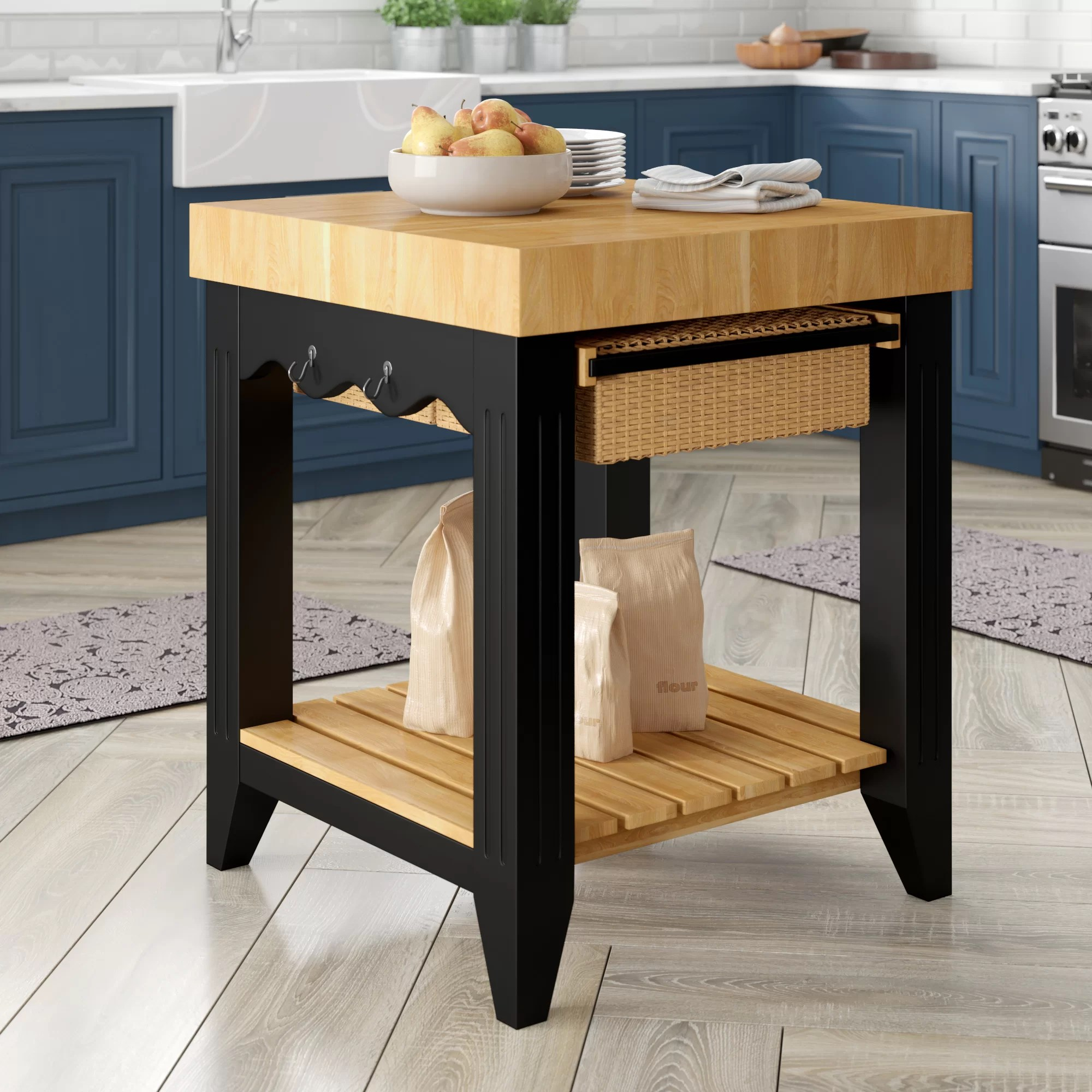 Chopping Block Kitchen Island Behling Prep Table With Butcher Block Top