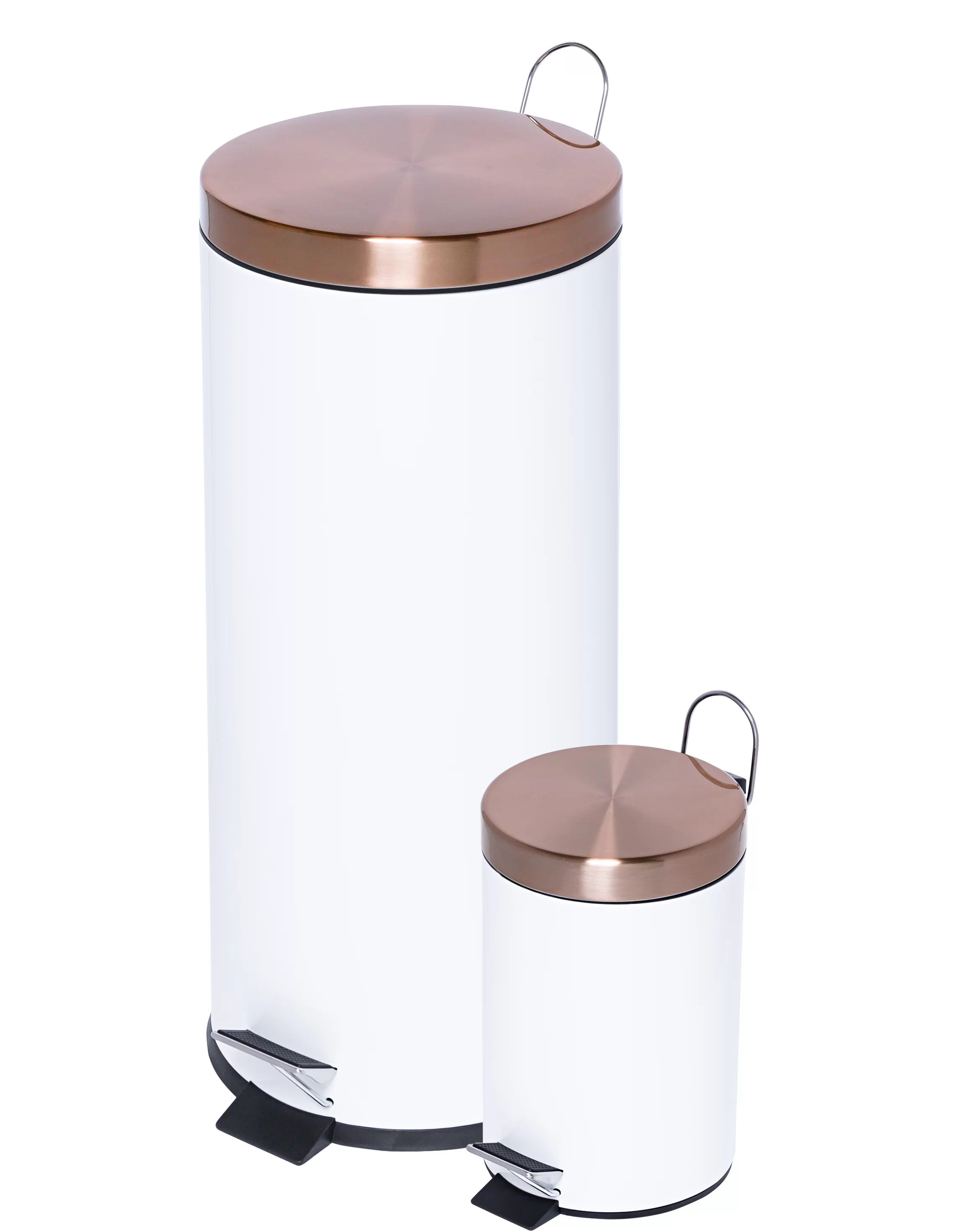 Copper Trash Can With Lid 2 Piece Round Step On Trash Can Set