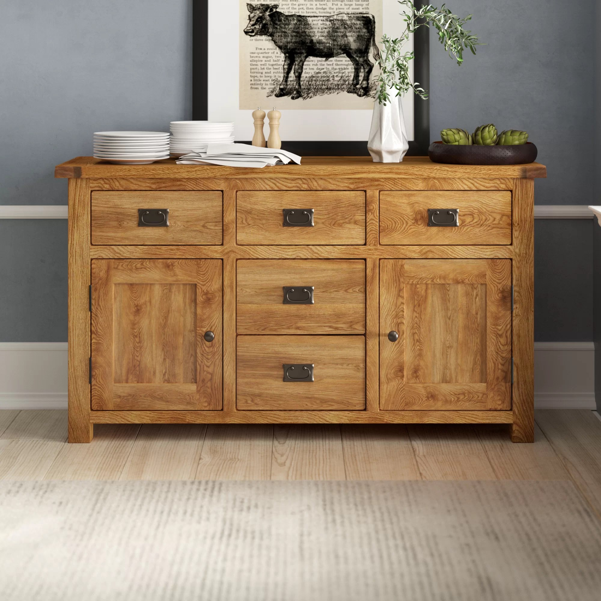 Sideboard Eiche Provence 2 Door 5 Drawer Sideboard
