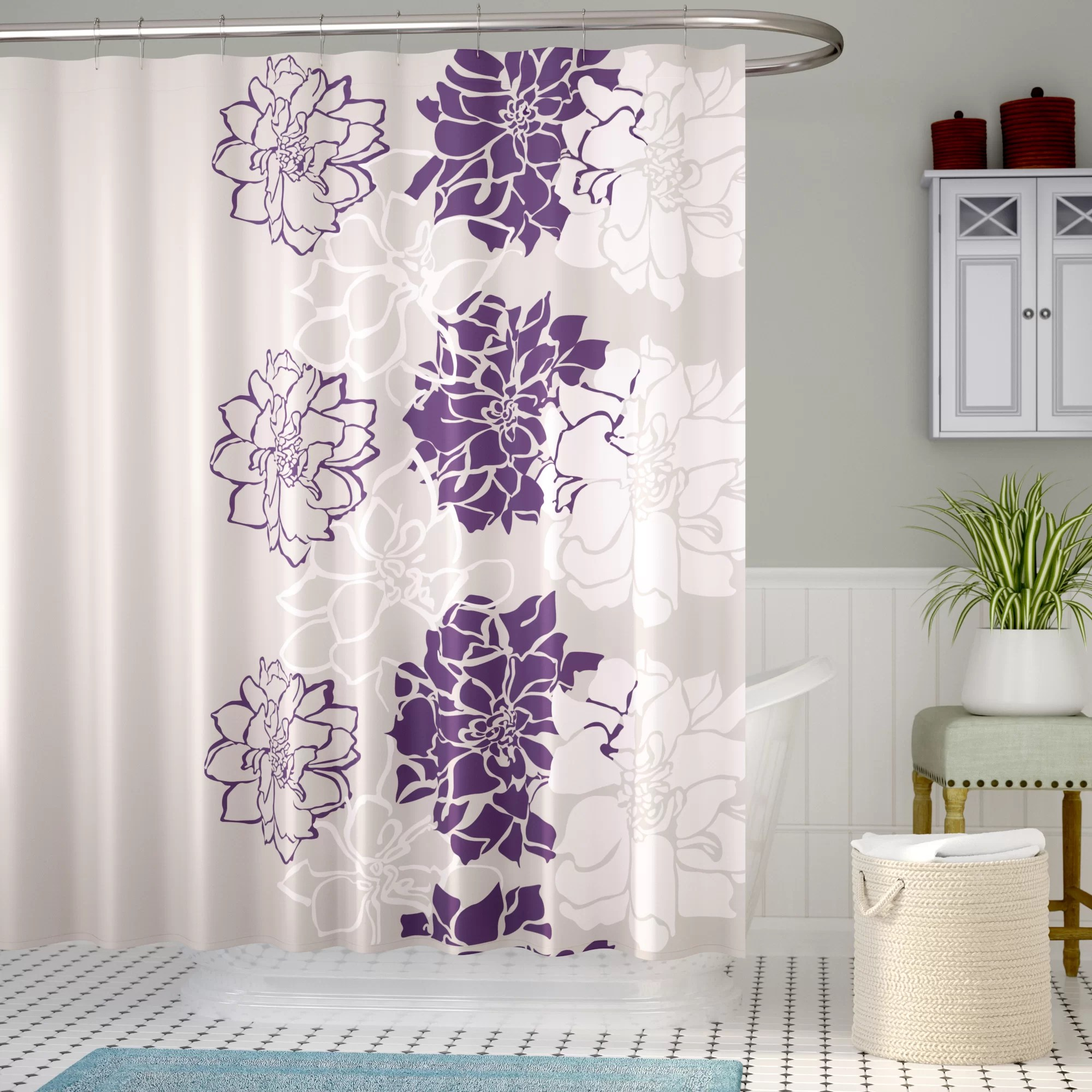 Lavender Shower Curtains Broadwell Cotton Single Shower Curtain