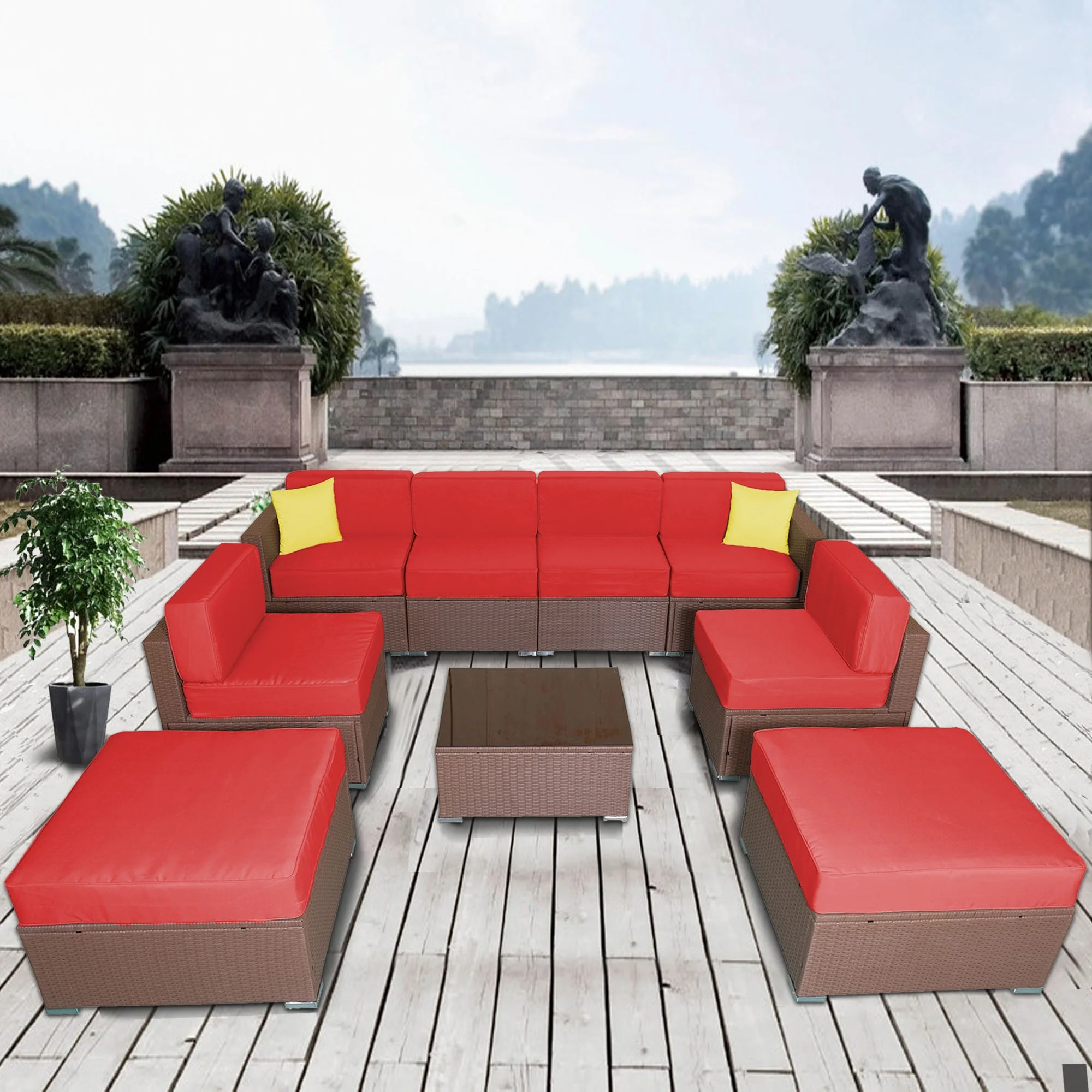 Urban Sofa Barneveld Meyerson Patio 9 Piece Rattan Sectional Seating Group With Cushions