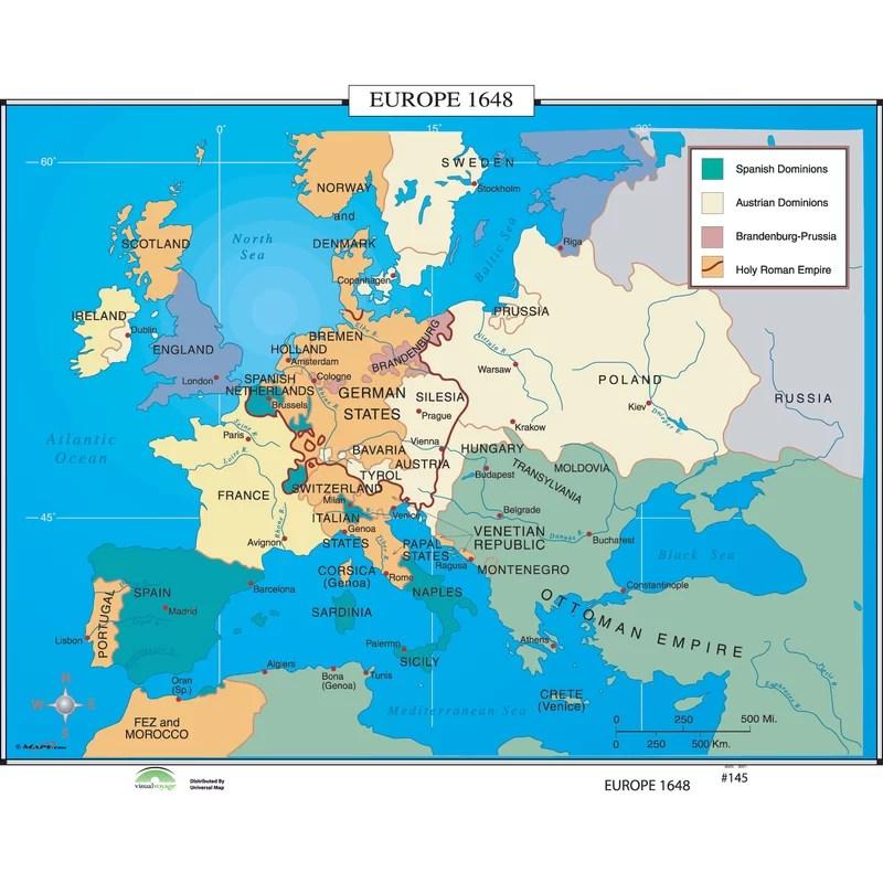 Universal Map World History Wall Maps - Europe 1648 Wayfair