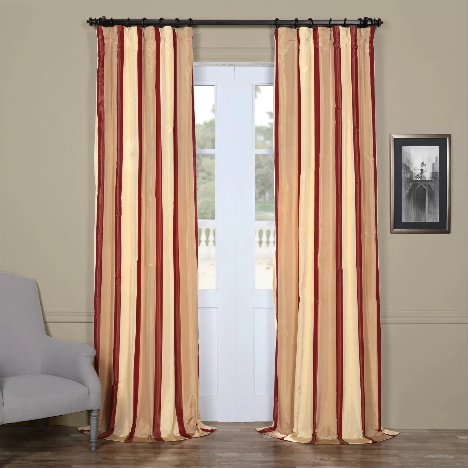 Faux Silk Curtains Striped Faux Silk Curtains Jonathan Steele