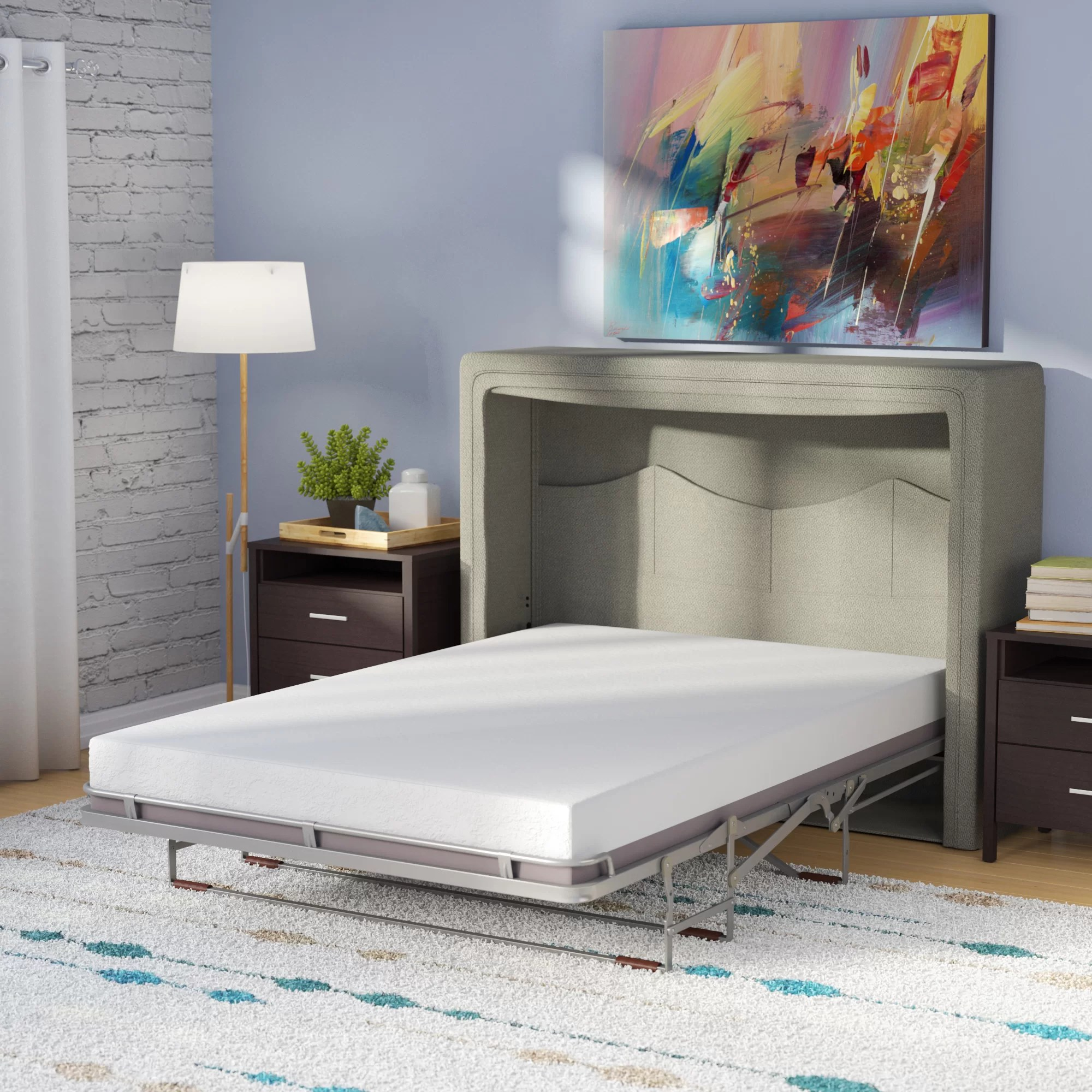 Full Double Bed Sue Full Double Upholstered Murphy Bed With Mattress