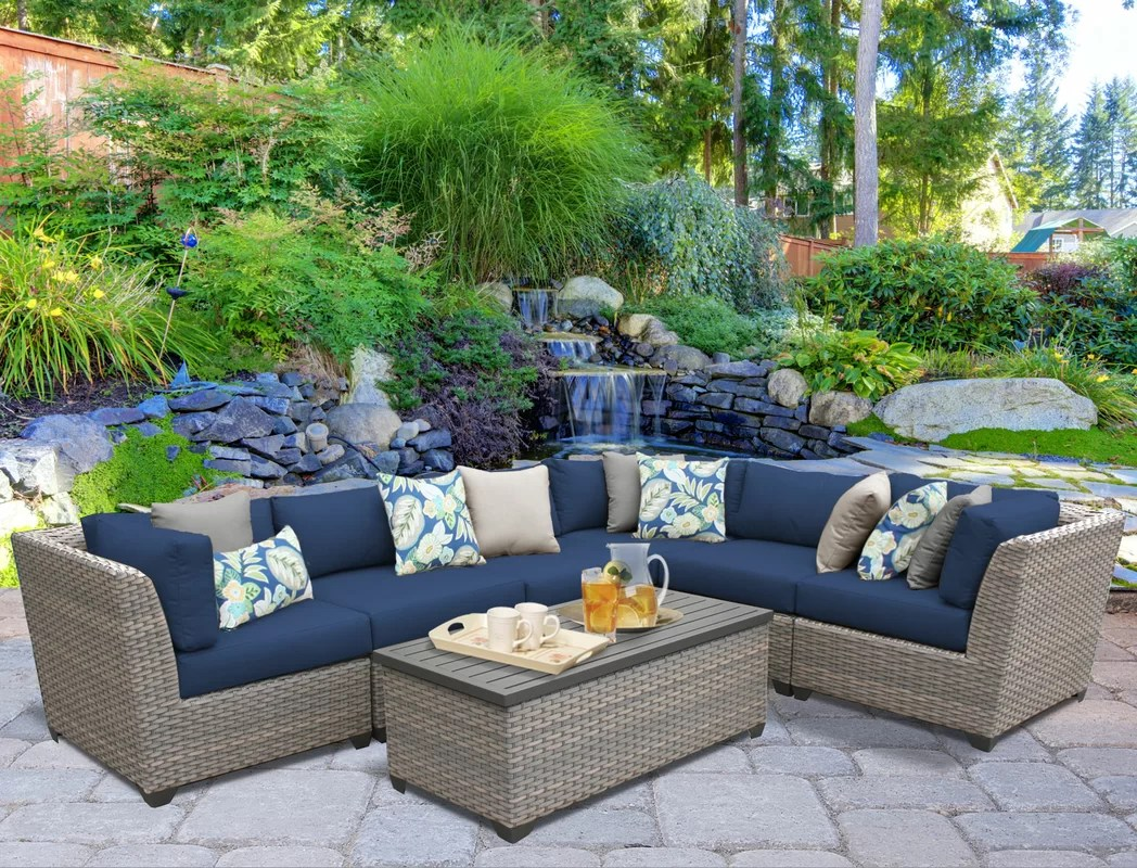 Florence 8 Piece Rattan Sofa Set With Cushions Florence 7 Piece Rattan Sectional Set With Cushions