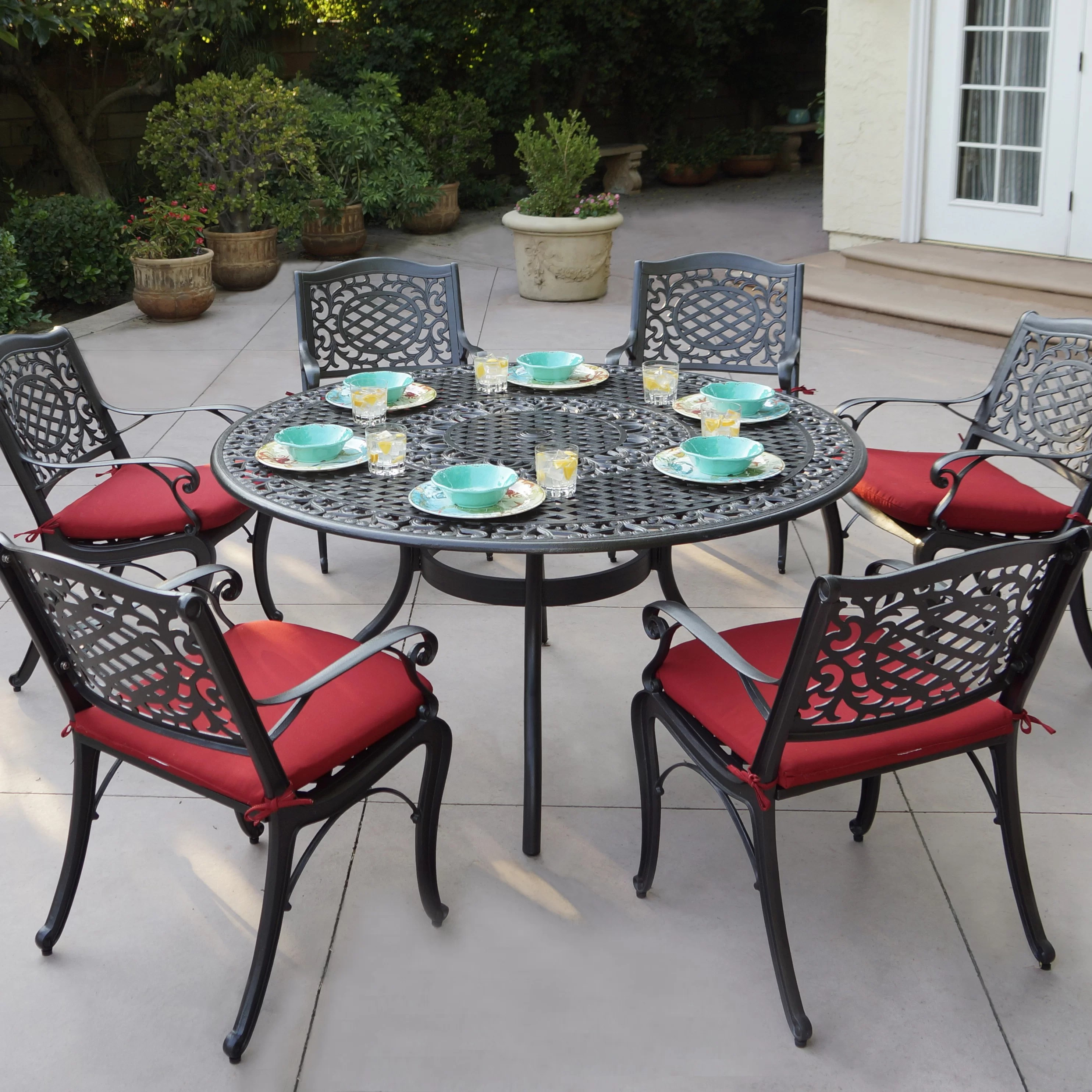 7 Piece Patio Set Apple By 7 Piece Metal Dining Set With Cushions
