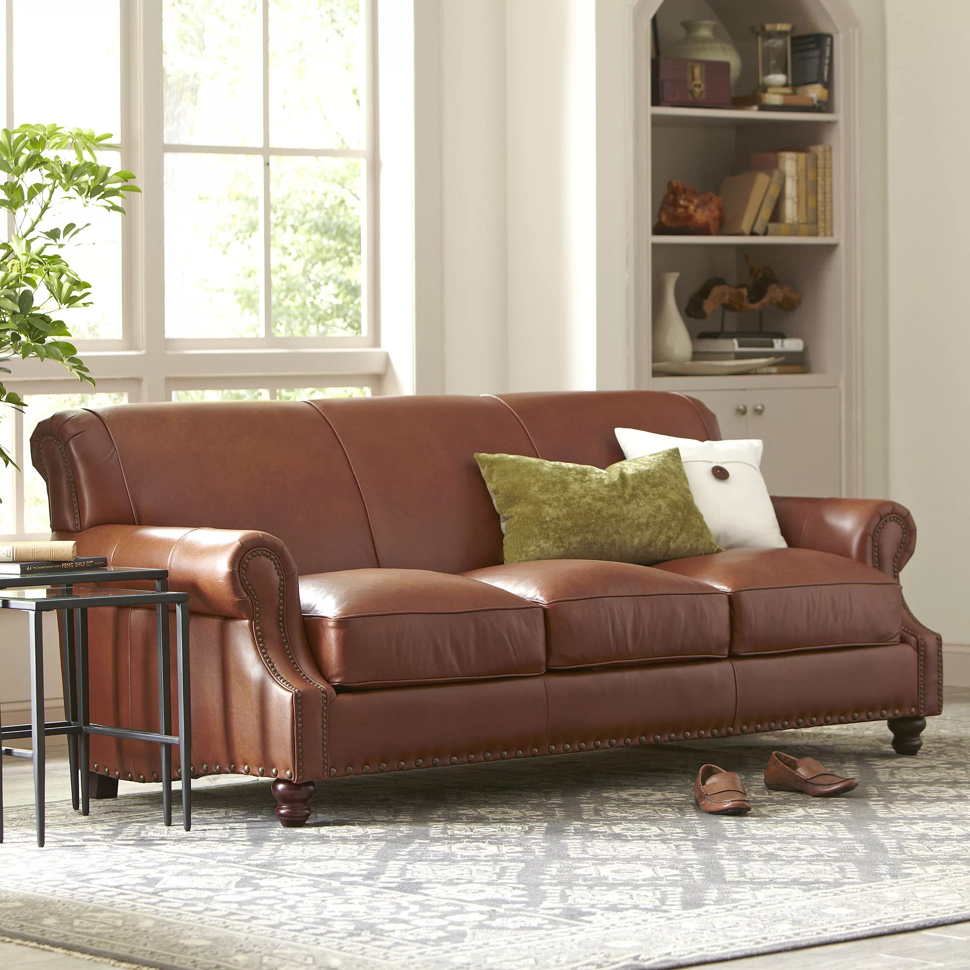 Brown Real Leather Couch Landry Leather Sofa