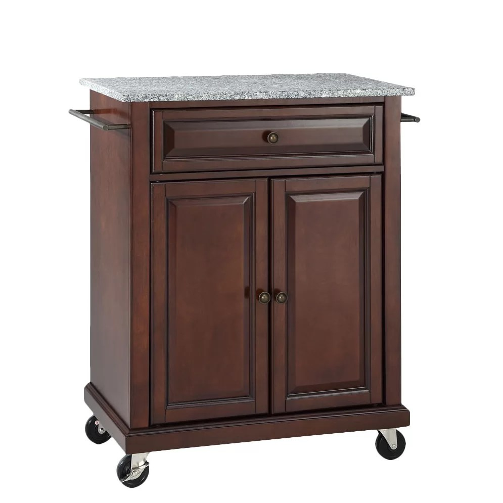 Portable Kitchen Island With Granite Top Darby Home Co Detweiler Solid Granite Top Portable Kitchen
