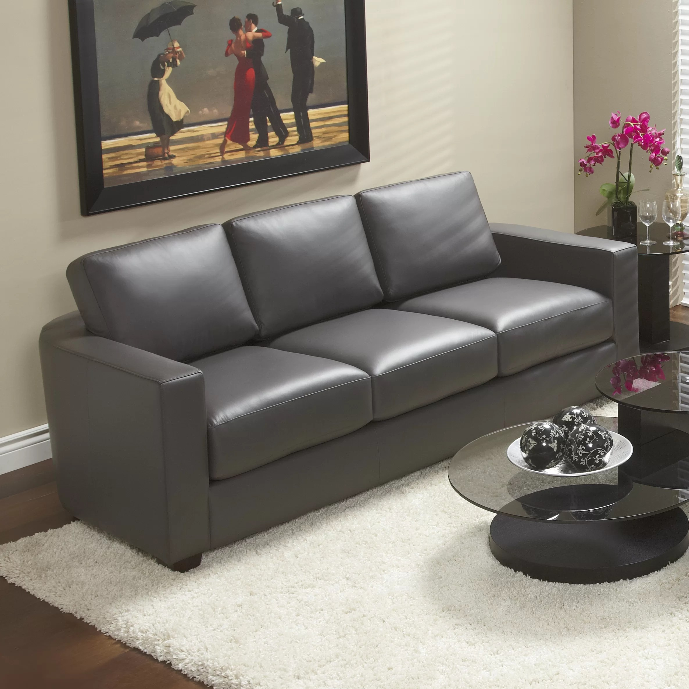 Genuine Leather Sectional Canada Marquis Top Grain Leather Sofa