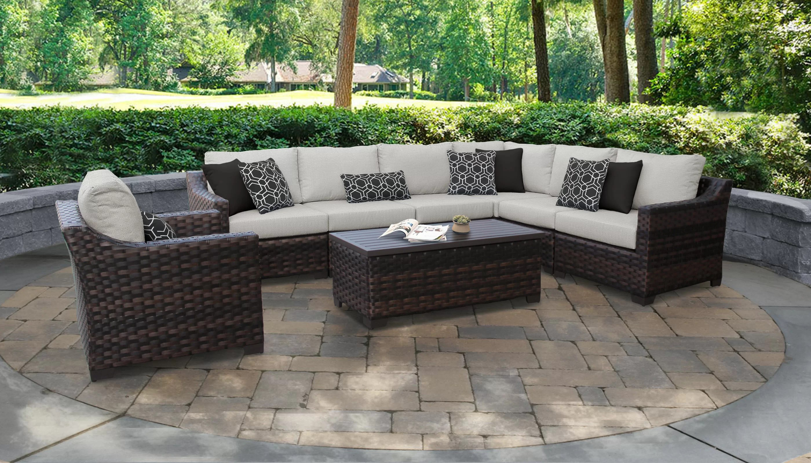 Rattan Corner Sofa Ireland Kathy Ireland Homes Gardens River Brook 8 Piece Outdoor Wicker Patio Furniture Set 08d