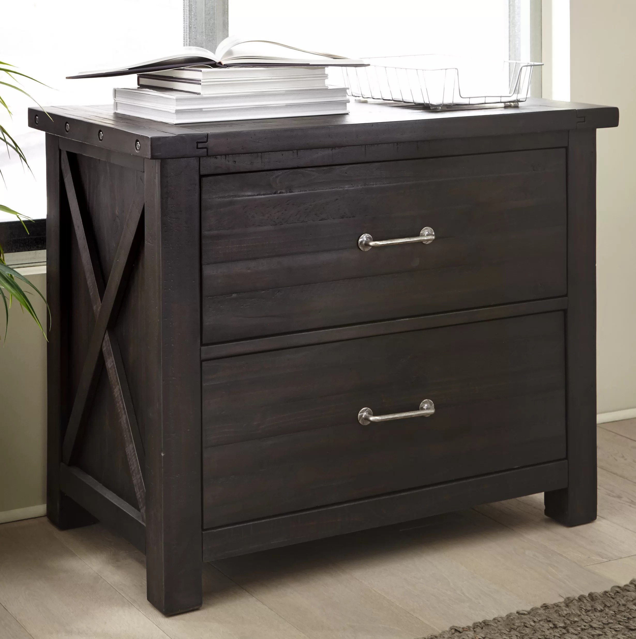 Solid Wood File Cabinet Langsa Solid Wood 2 Drawer Lateral Filing Cabinet