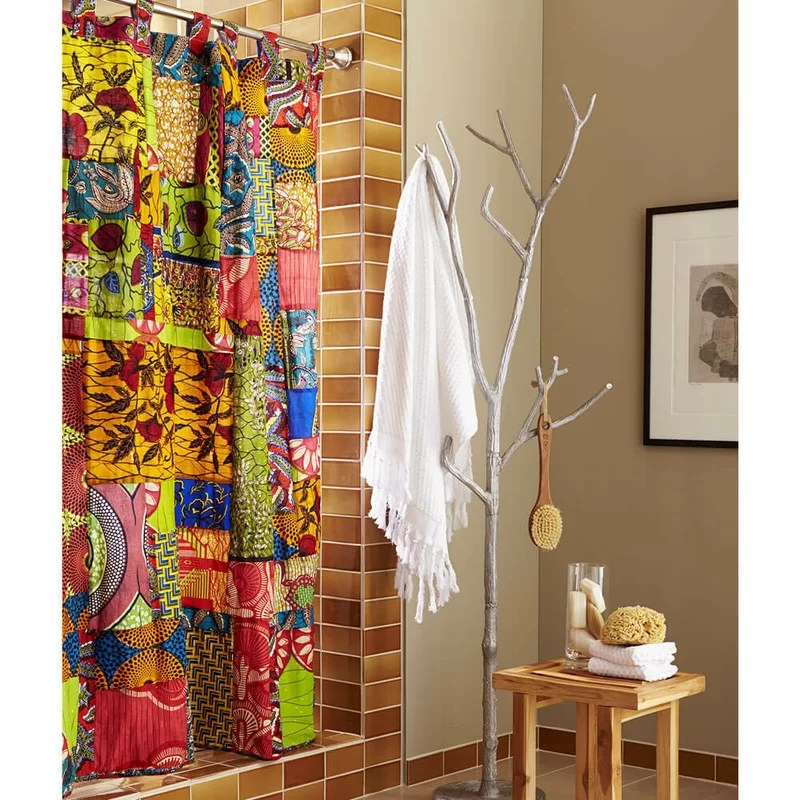Traditional Cottage Decor Vivaterra Fabric African Print Patchwork Shower Curtain