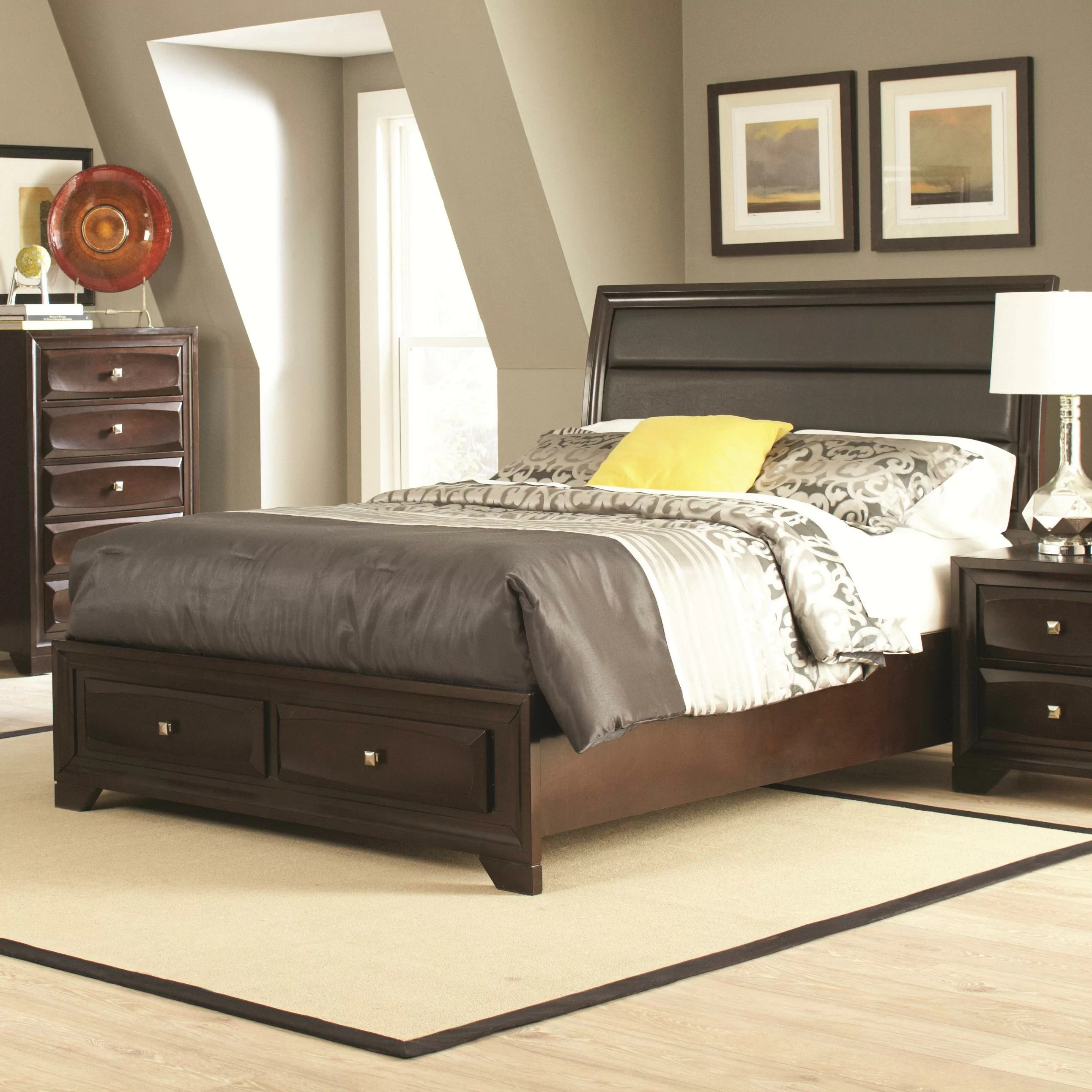 Bedding Storage Wasserhund Upholstered Storage Panel Bed