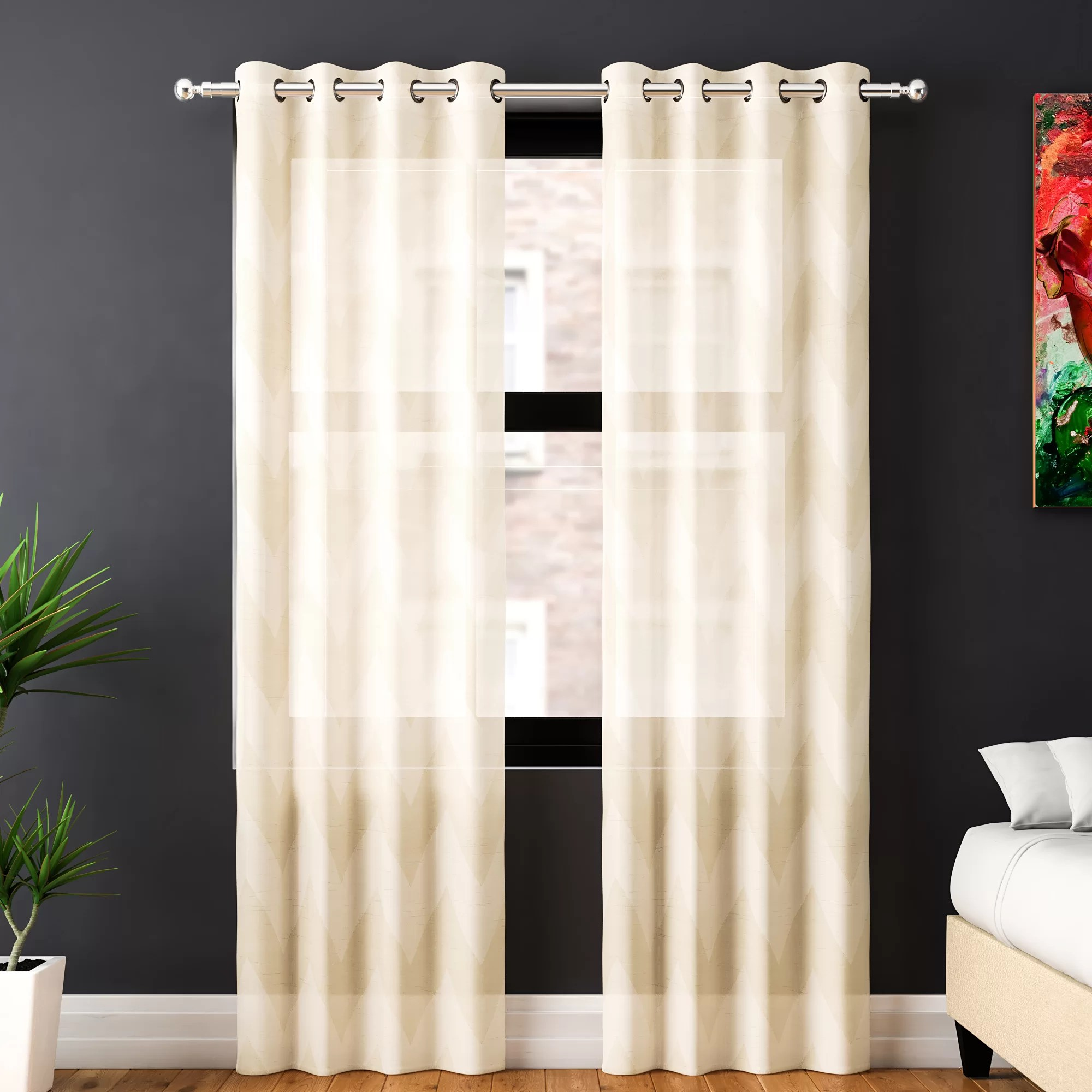Cheap Stylish Curtains Arispe Chevron Sheer Grommet Curtain Panels
