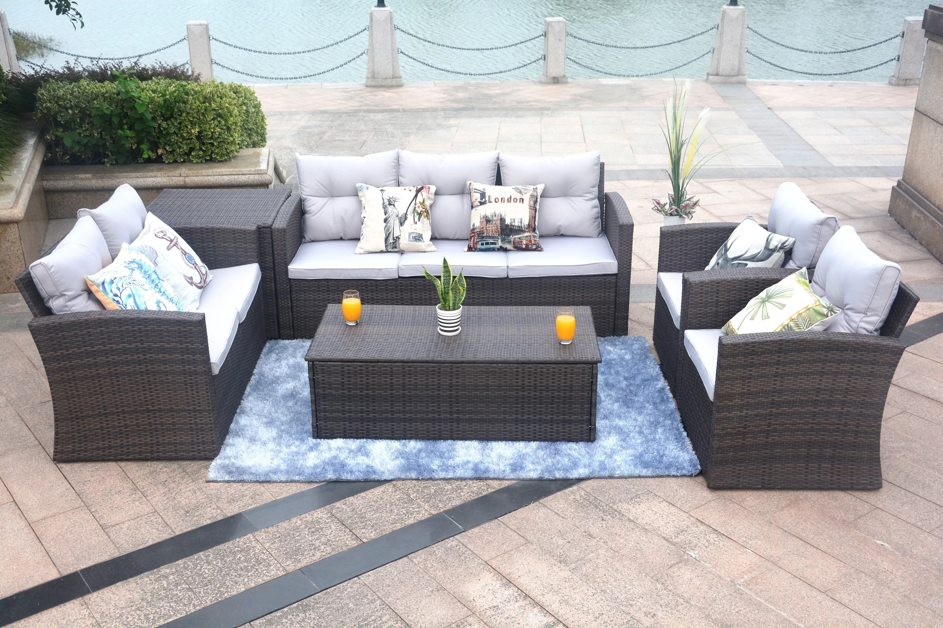 Baptist 6 Piece Rattan Sofa Set With Cushions Baptist 6 Piece Rattan Sofa Set With Cushions