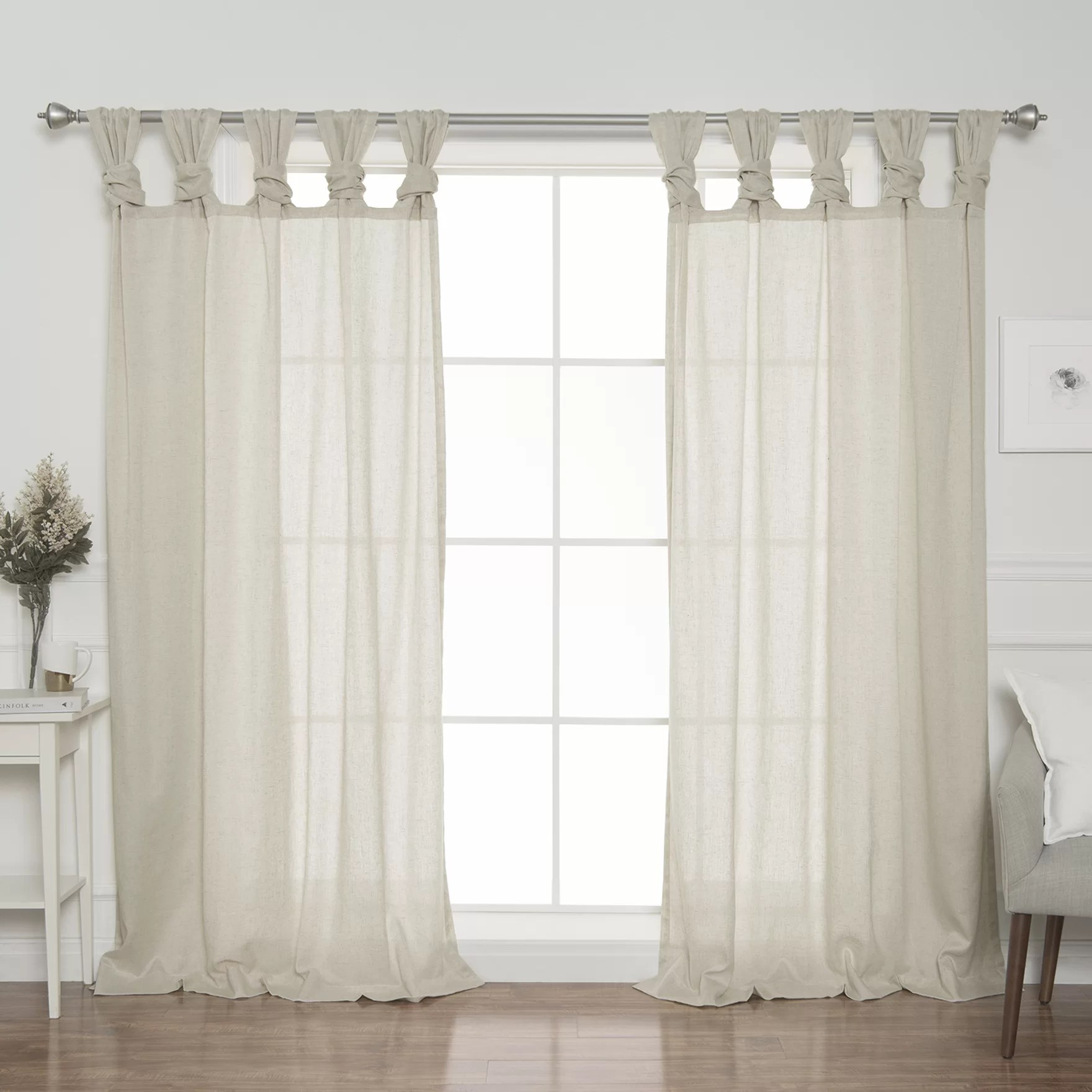 Tab Top Curtain Weatherby Faux Linen Solid Semi Sheer Twist Tab Top Curtain Panels