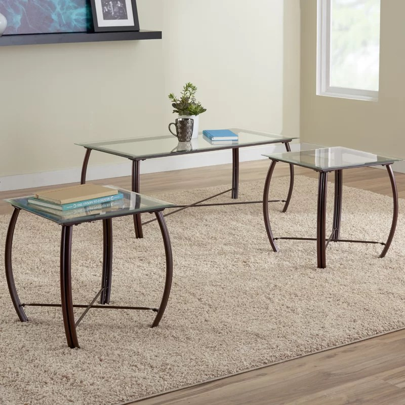 Zipcode Design Kristie 3-Piece Coffee Table Set \ Reviews Wayfair - 3 piece living room table set