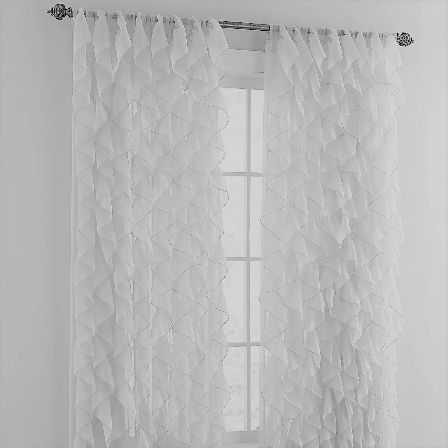 Farley Window Farley Cascading Waterfall Ruffled Solid Semi Sheer Rod Pocket Single Curtain Panel