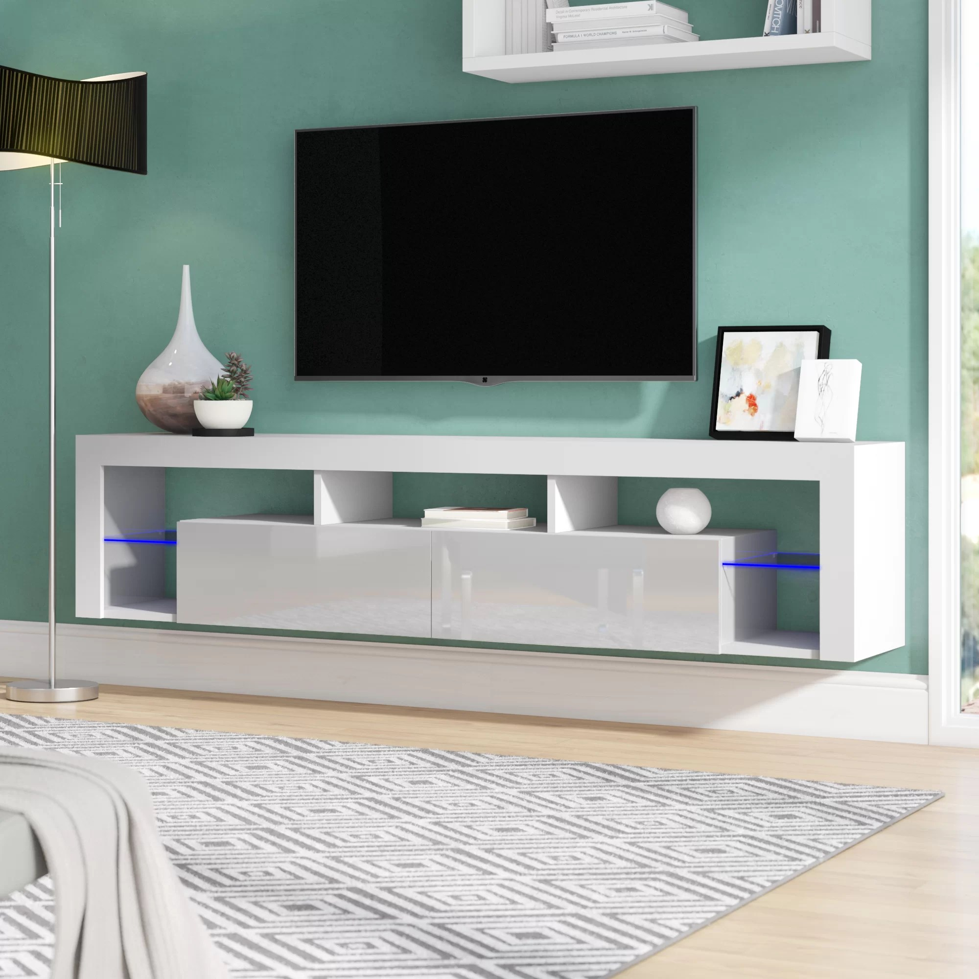 Wood Wall Behind Tv Böttcher Wall Mounted Floating Tv Stand For Tvs Up To 78