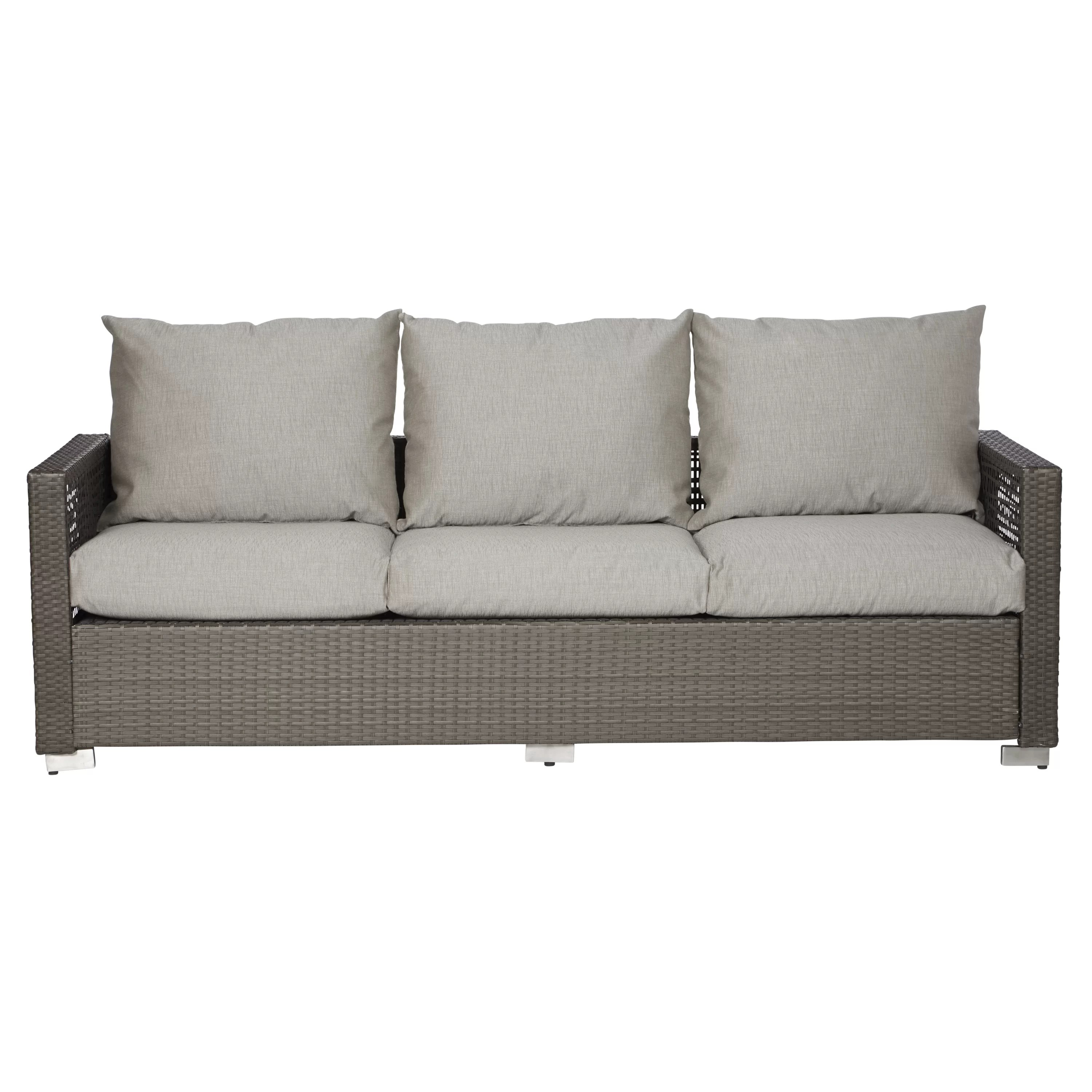 Outdoor Couch Mcmanis Outdoor Open Weave Rattan Patio Sofa With Cushions
