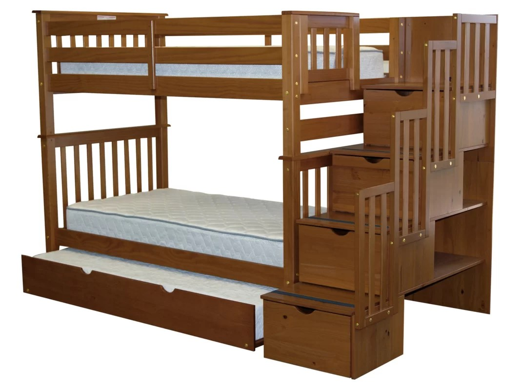 Bedz King Stairway Tall Twin Over Twin Bunk Bed With