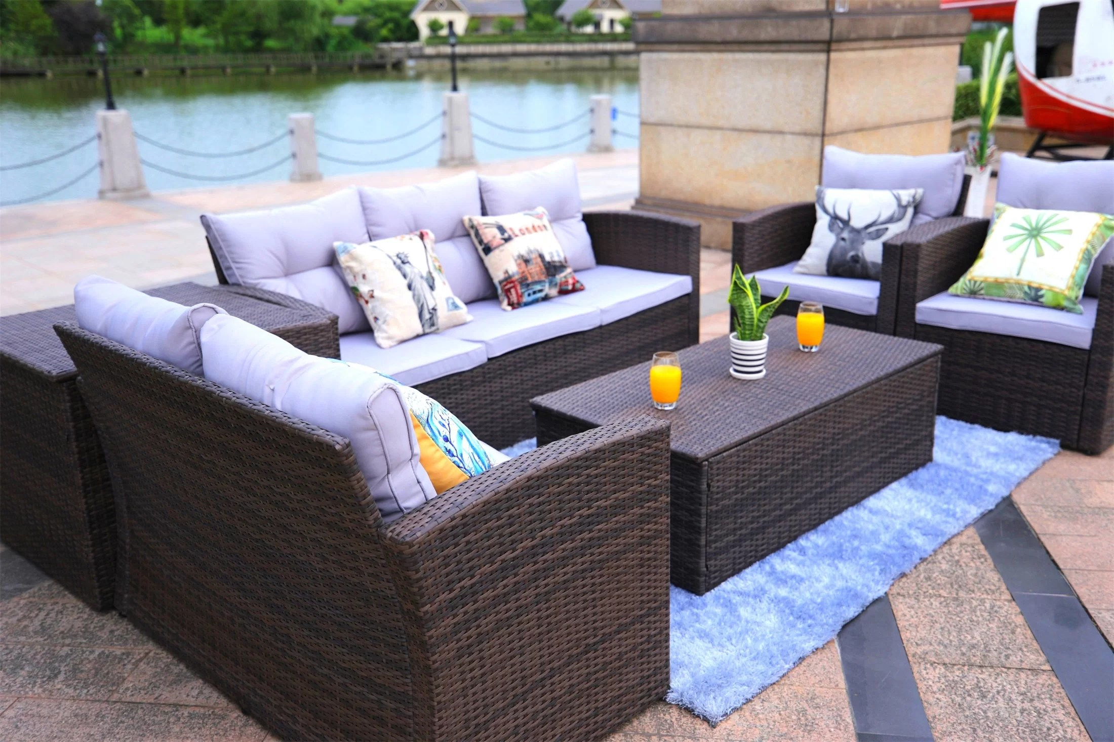 Baptist 6 Piece Rattan Sofa Set With Cushions Veronica 6 Piece Rattan Sofa Seating Group With Cushions