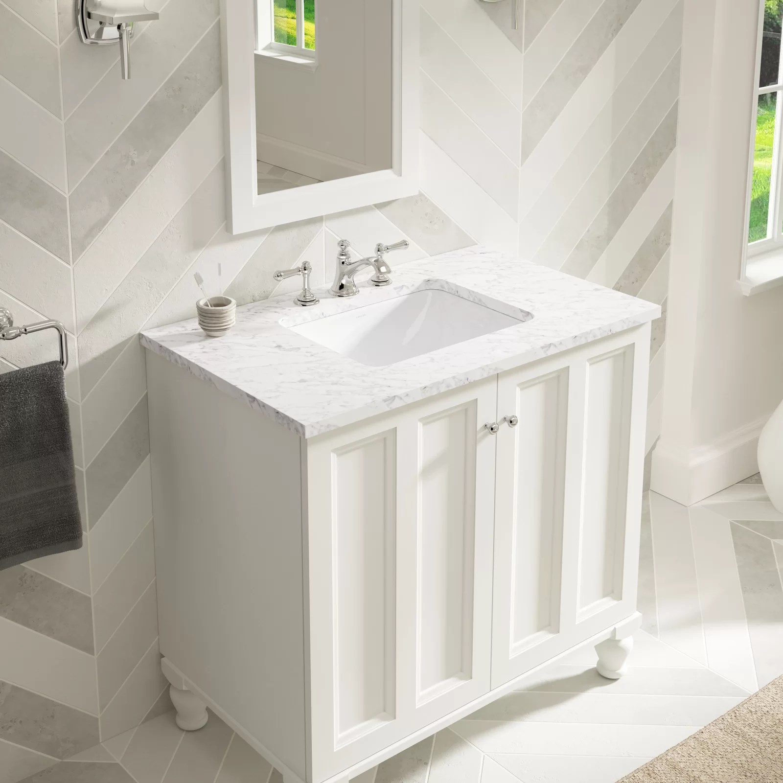 Bathroom Kohler Caxton Ceramic Rectangular Undermount Bathroom Sink With Overflow
