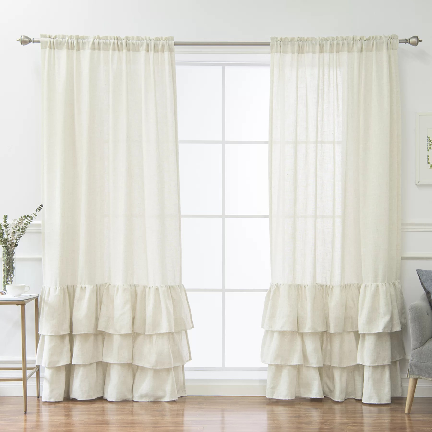 Ruffle Curtain Panel Newnan Blend Ruffle Solid Room Darkening Thermal Rod Pocket Single Curtain Panel