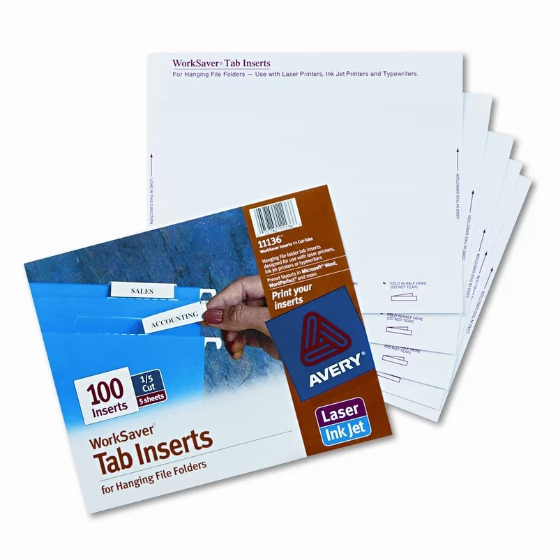 AVERY-DENNISON Printable Inserts for Hanging File Folders (100/Pack