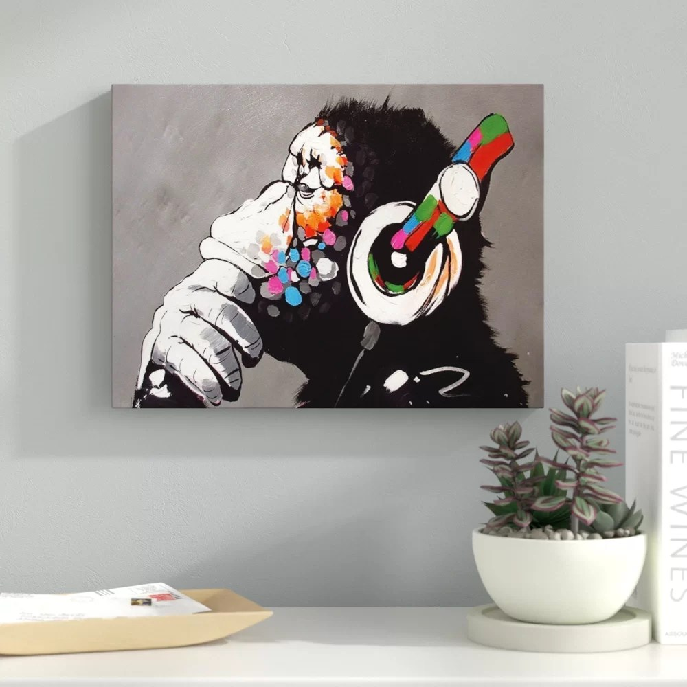 Printing Canvas Dj Monkey Chimp Street Graphic Art Print On Wrapped Canvas