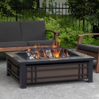 Real Flame Hamilton Steel Wood Burning Fire Pit table ...