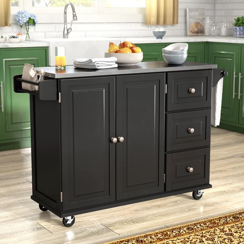 Kuhnhenn Kitchen Island Andover Mills Kuhnhenn Kitchen Island With Stainless Steel
