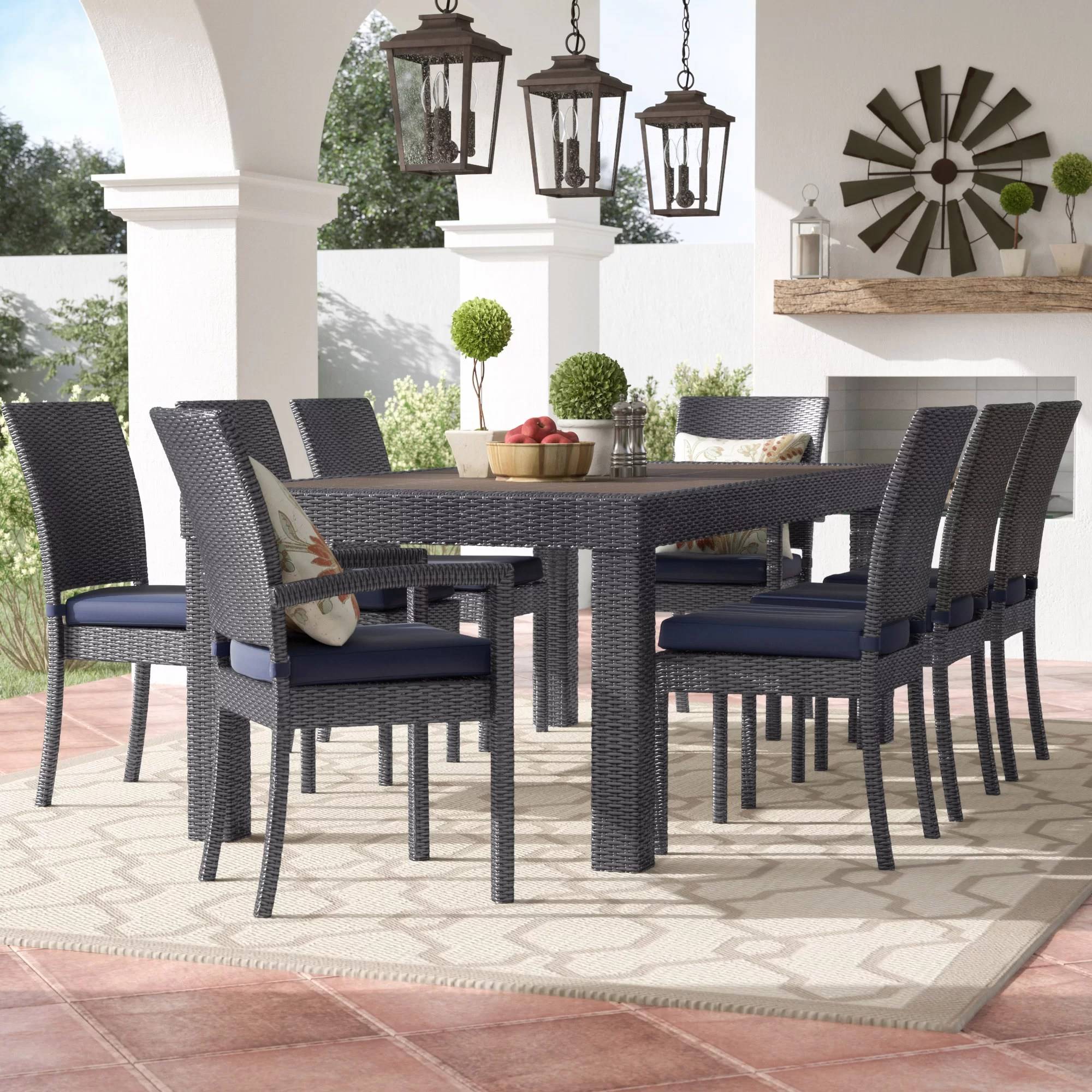 9 Piece Outdoor Dining Set Northridge 9 Piece Sunbrella Dining Set With Cushion