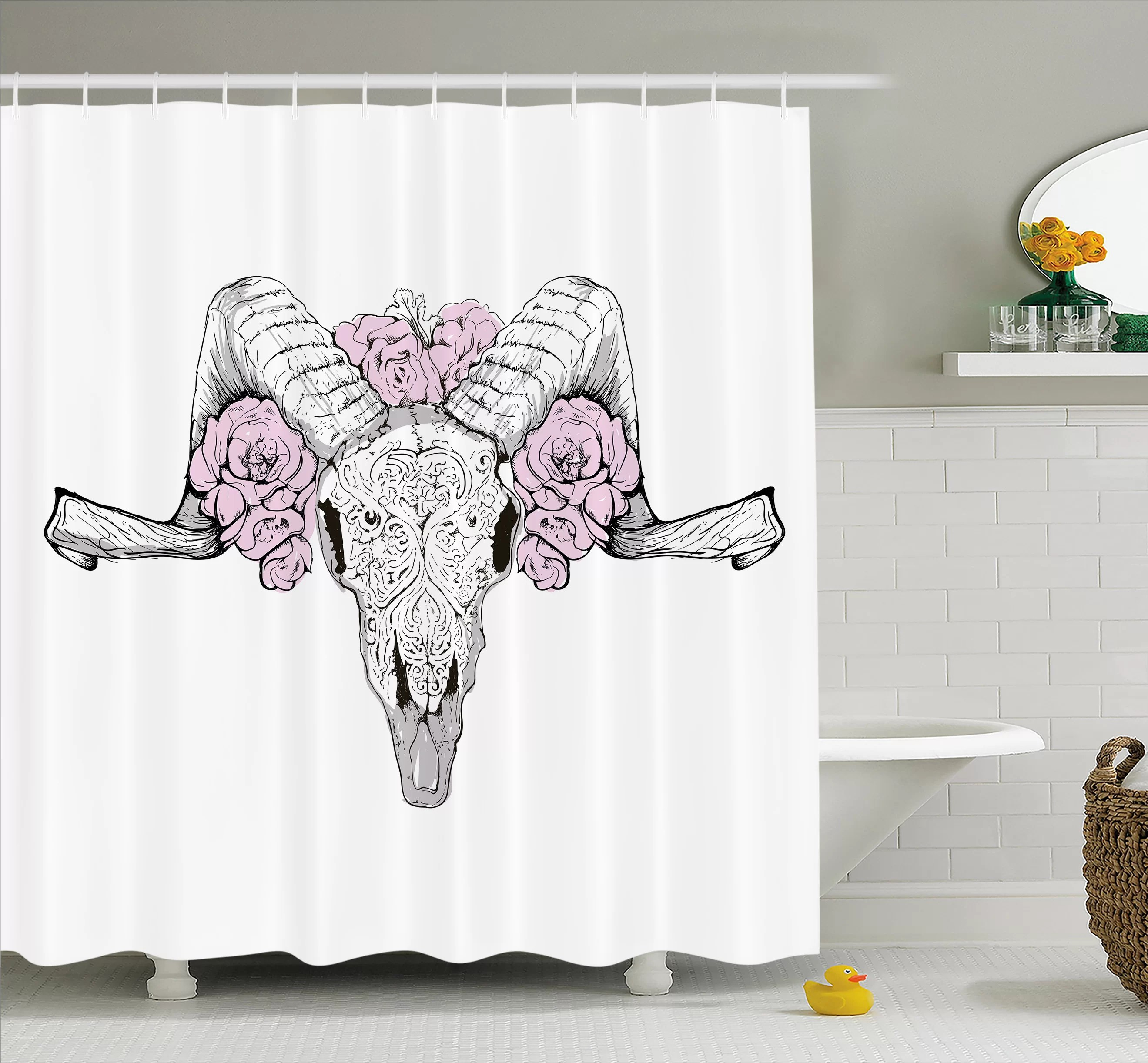 Kokopelli Shower Curtain Skull Bones Of A Lamb With Rose Flowers Spiritual Oriental Creepy Boho Graphic Shower Curtain Set