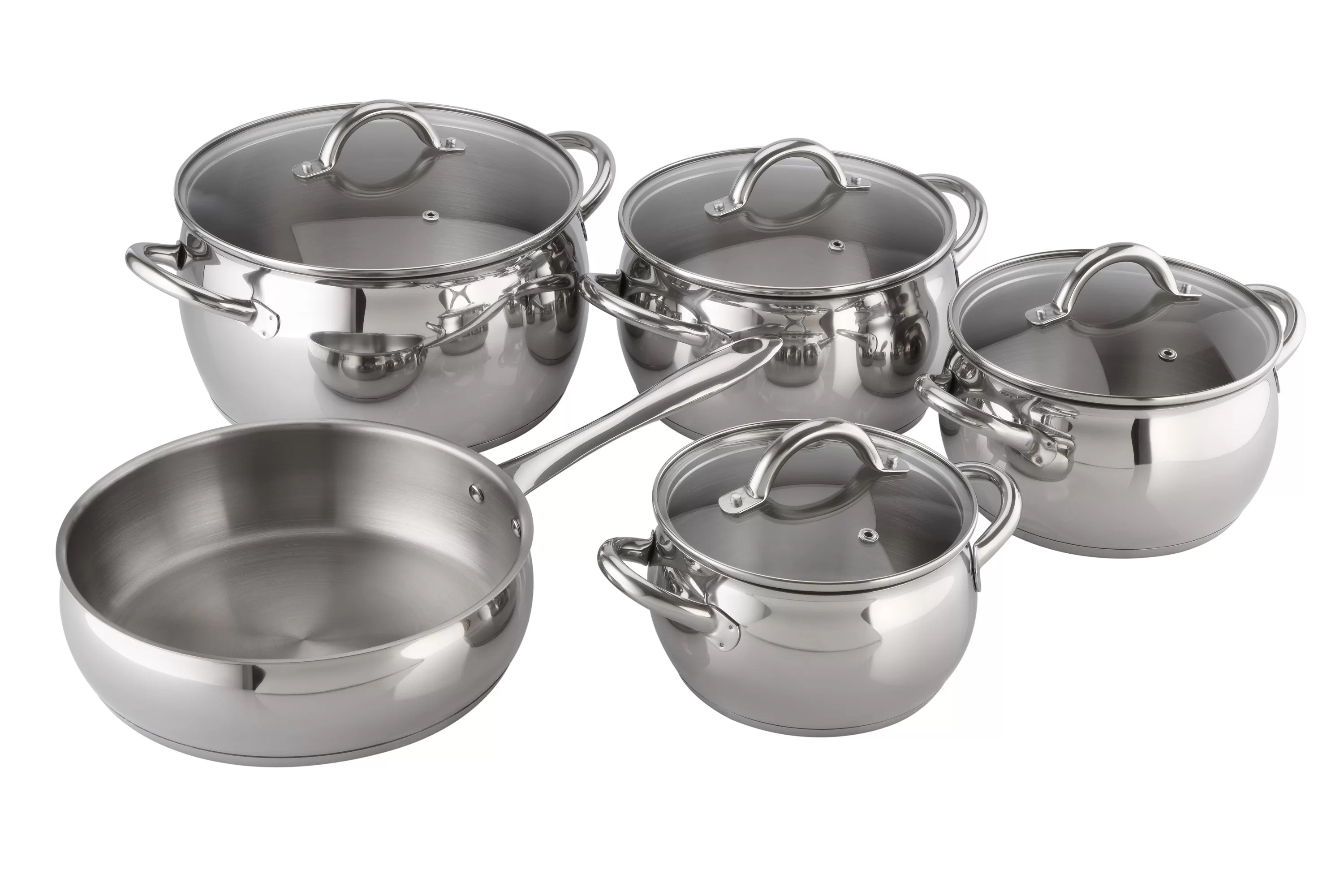Kuche Top Mount Bar Fridge Kuchen Stainless Steel 9 Piece Cookware Set