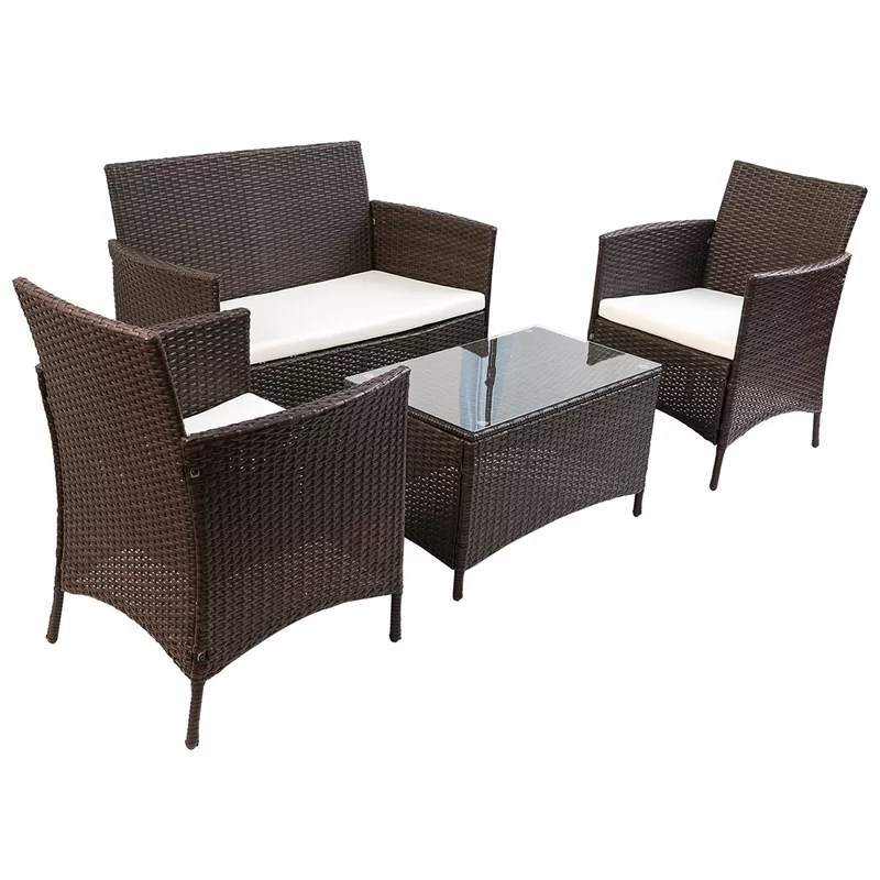 Sitzecke Rattan Merax 4 Piece Rattan Deep Sofa Seating Group With Cushion