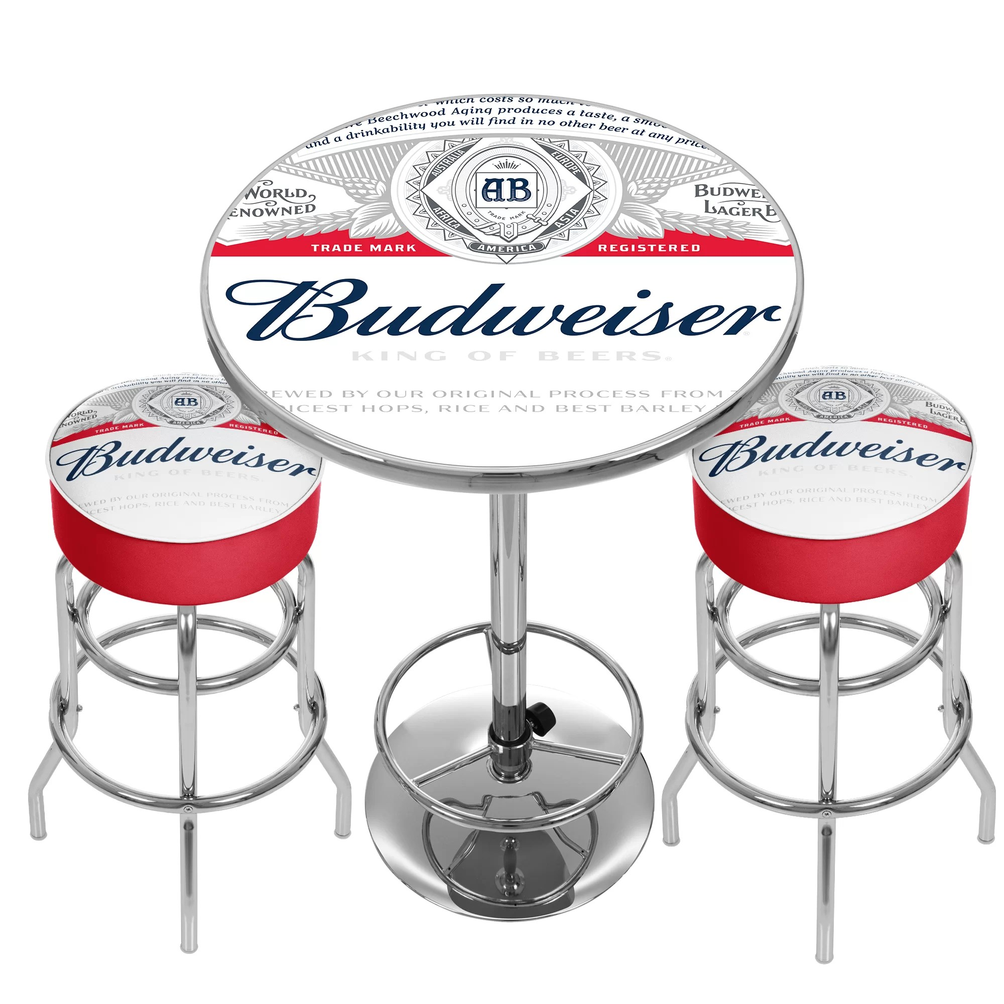 Guitar Stool Australia Budweiser Label Game Room Combo 3 Piece Pub Table Set