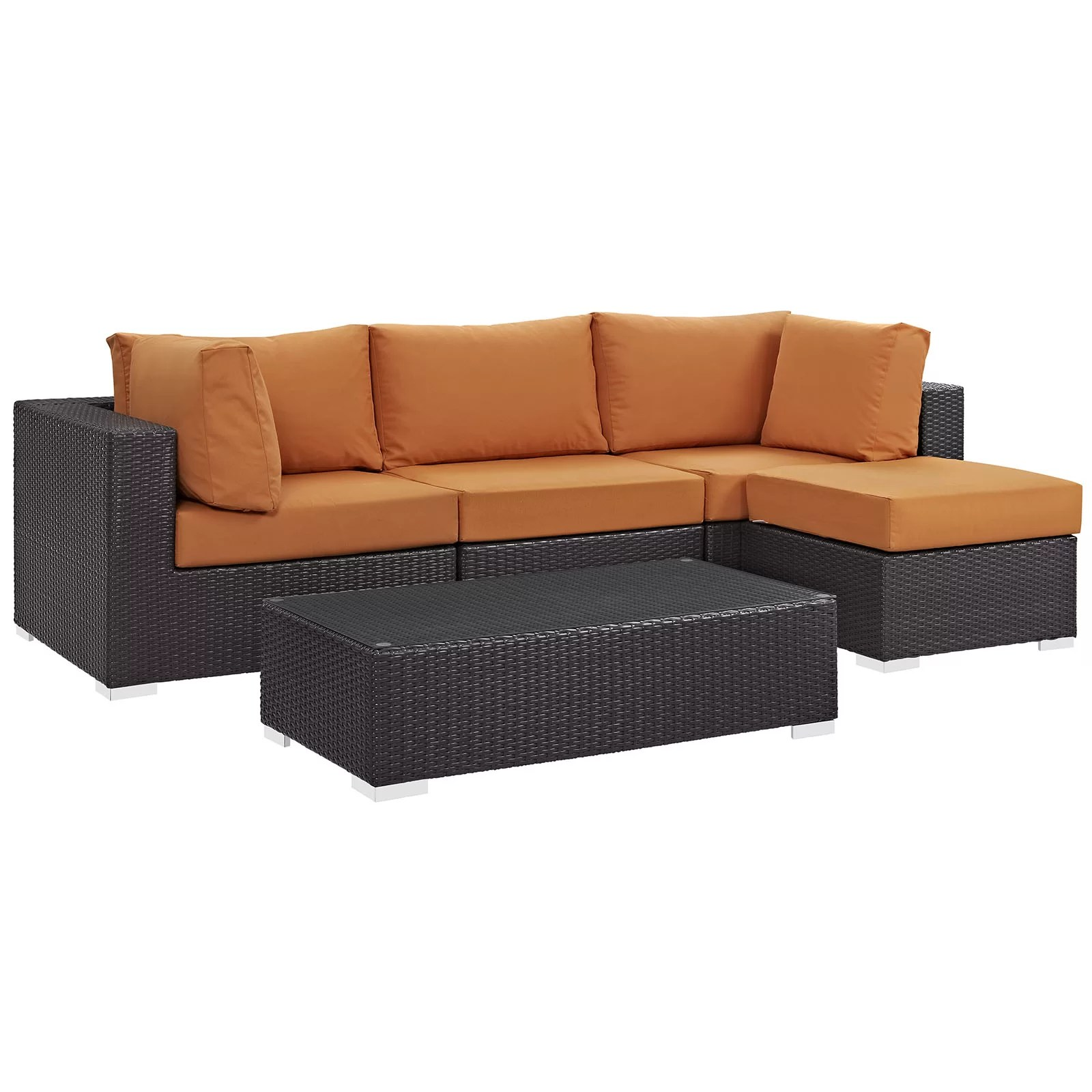 Sofa Polyrattan Brentwood 5 Piece Rattan Sectional Set With Cushions