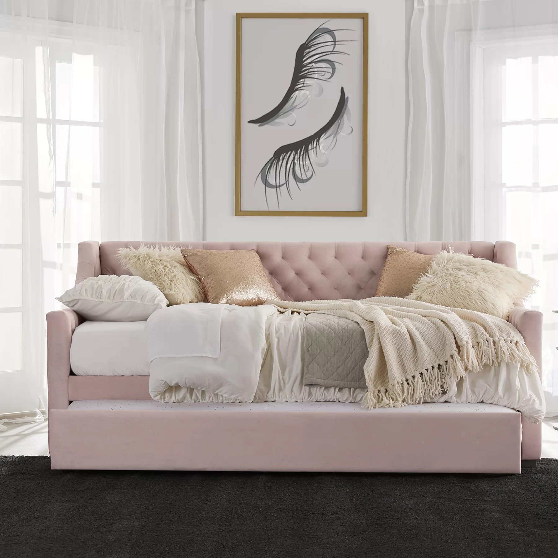 Little Couch For Bedroom Monarch Hill Ambrosia Upholstered Twin Daybed With Trundle