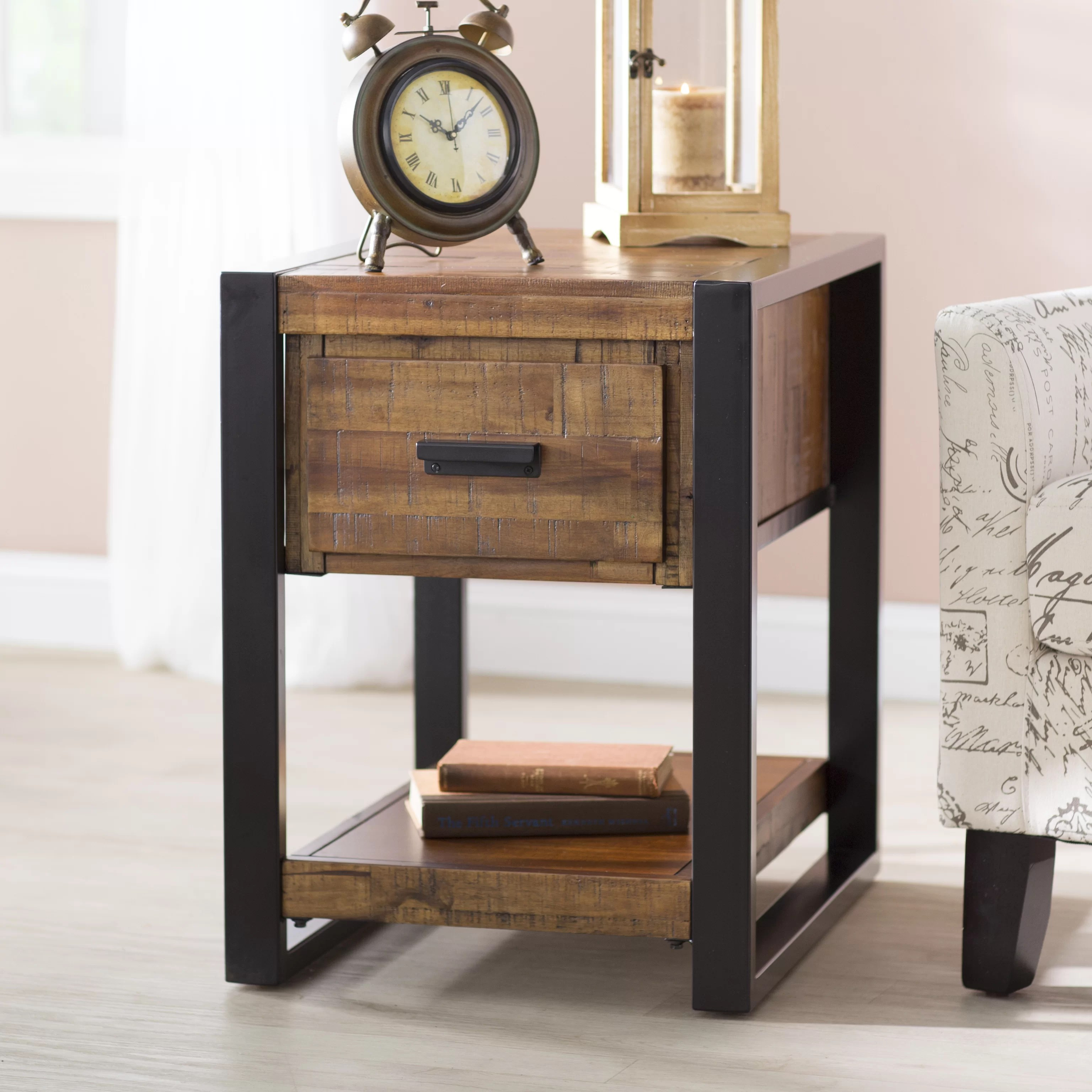 Rustic Wood End Table Telfair Wood End Table With Storage