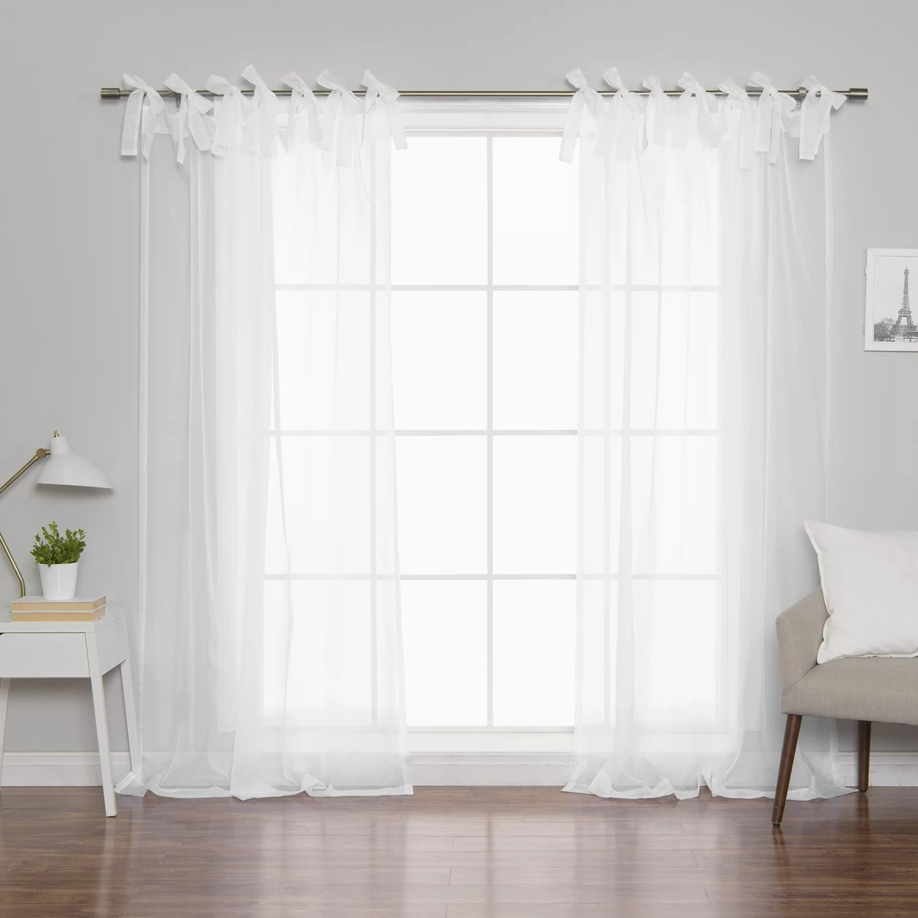 Tab Top Curtain Roseline Voile Solid Sheer Tab Top Curtain Panels