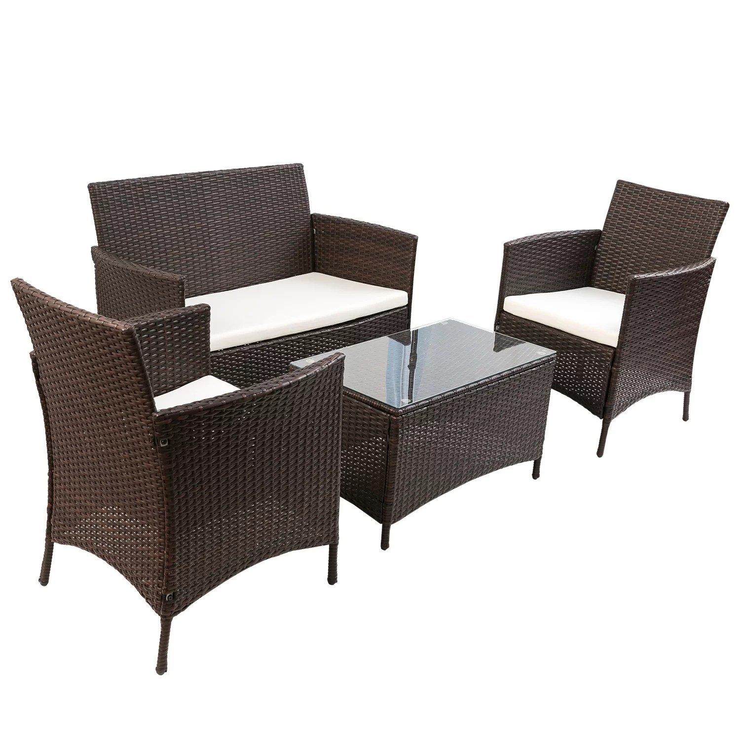 Sofa Rattan Laisha 4 Piece Rattan Sofa Seating Group With Cushions