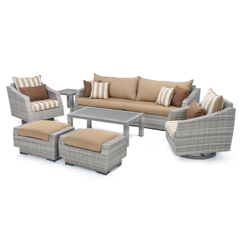 Sitzecke Rattan Johana 8 Piece Rattan Sunbrella Sofa Seating Group With